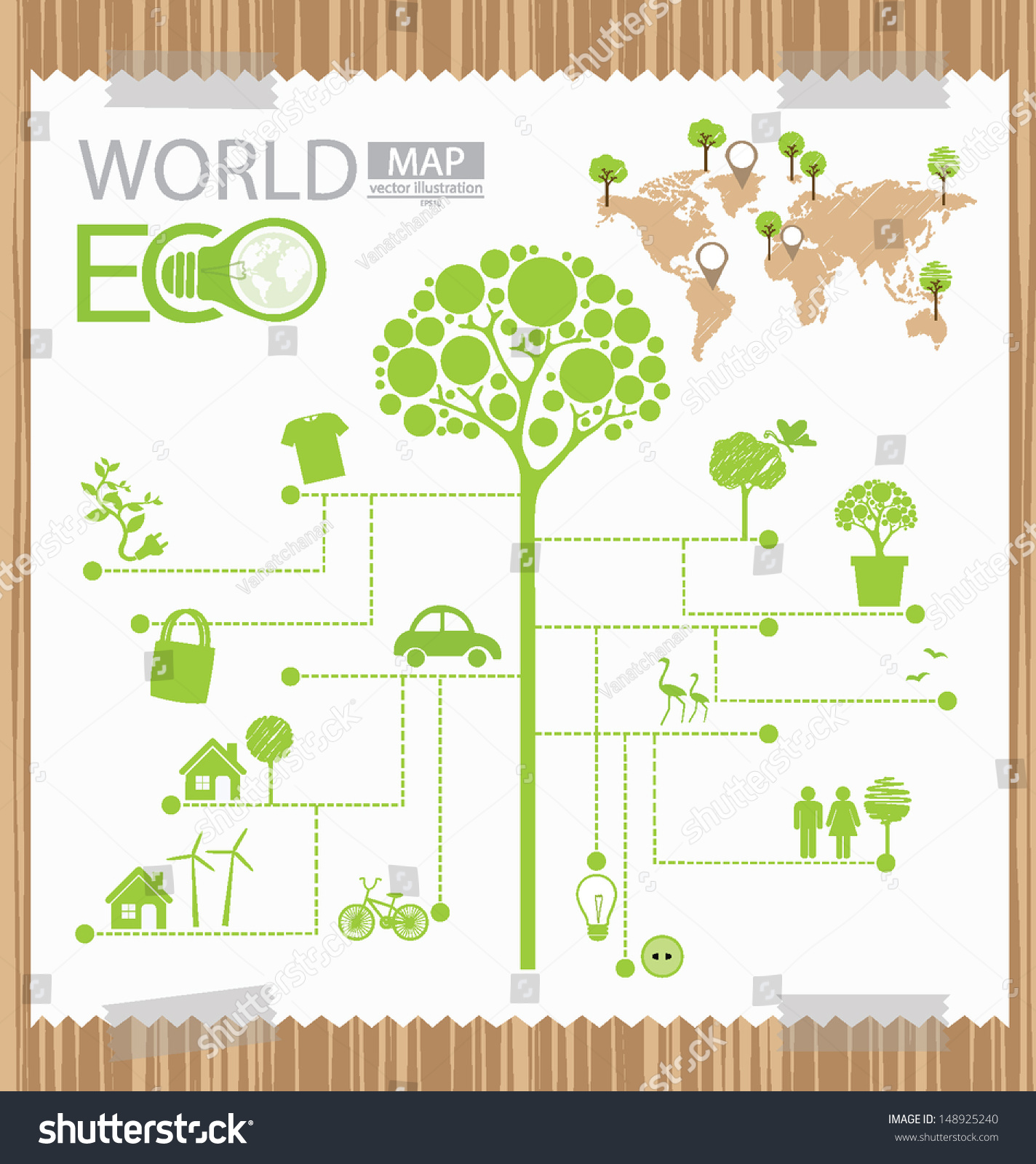 Infographic Tree Diagram Go Green Concept World Map Vector Illustration