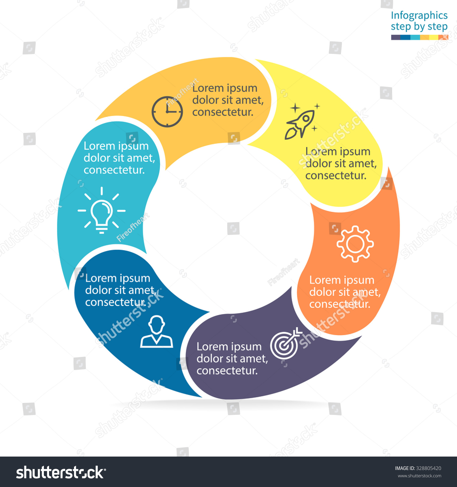 Infographics Step By Step Pie Chart Graph Diagram With