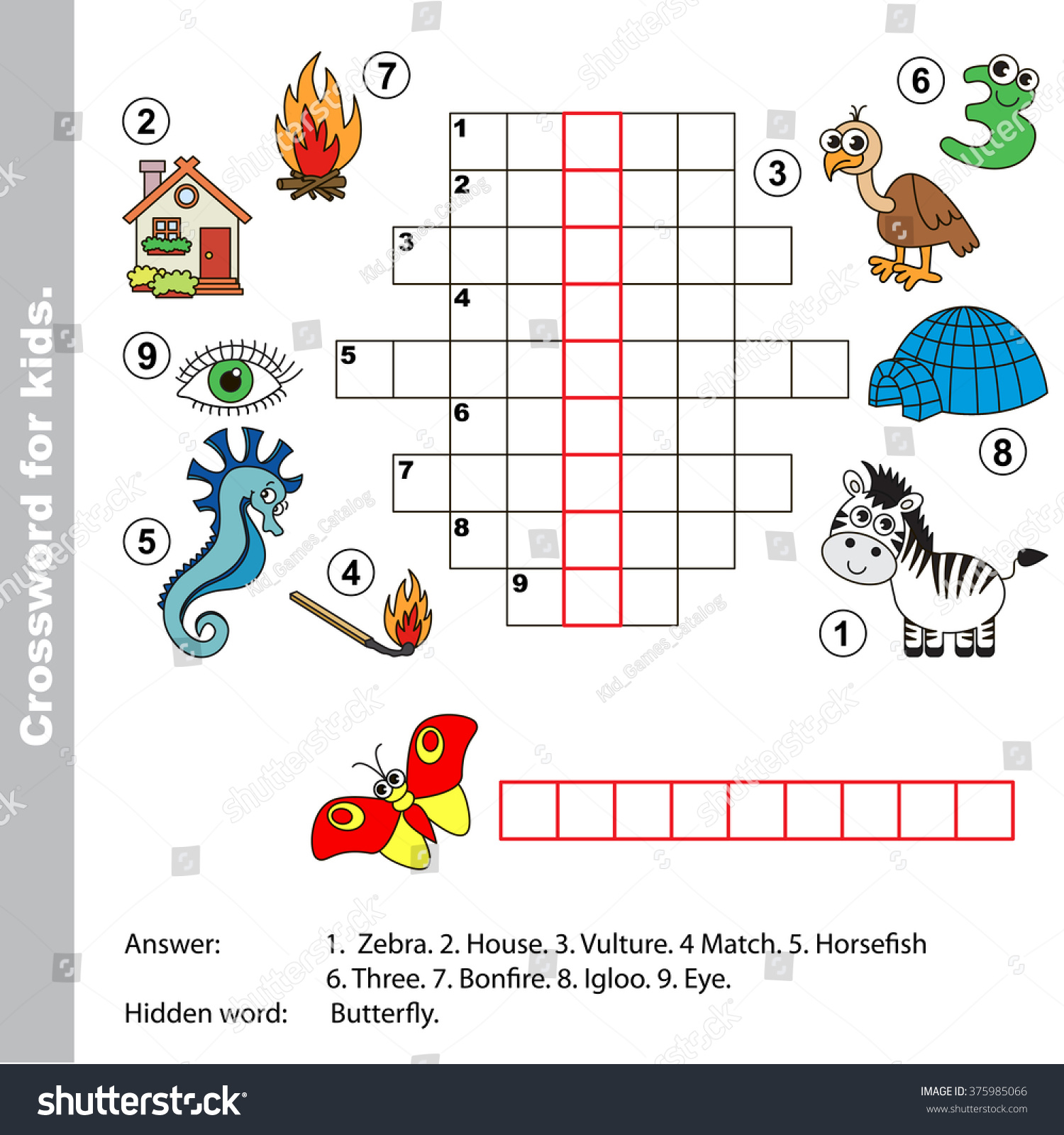 Interesting Crossword Kids Task Answer Colorful Stock