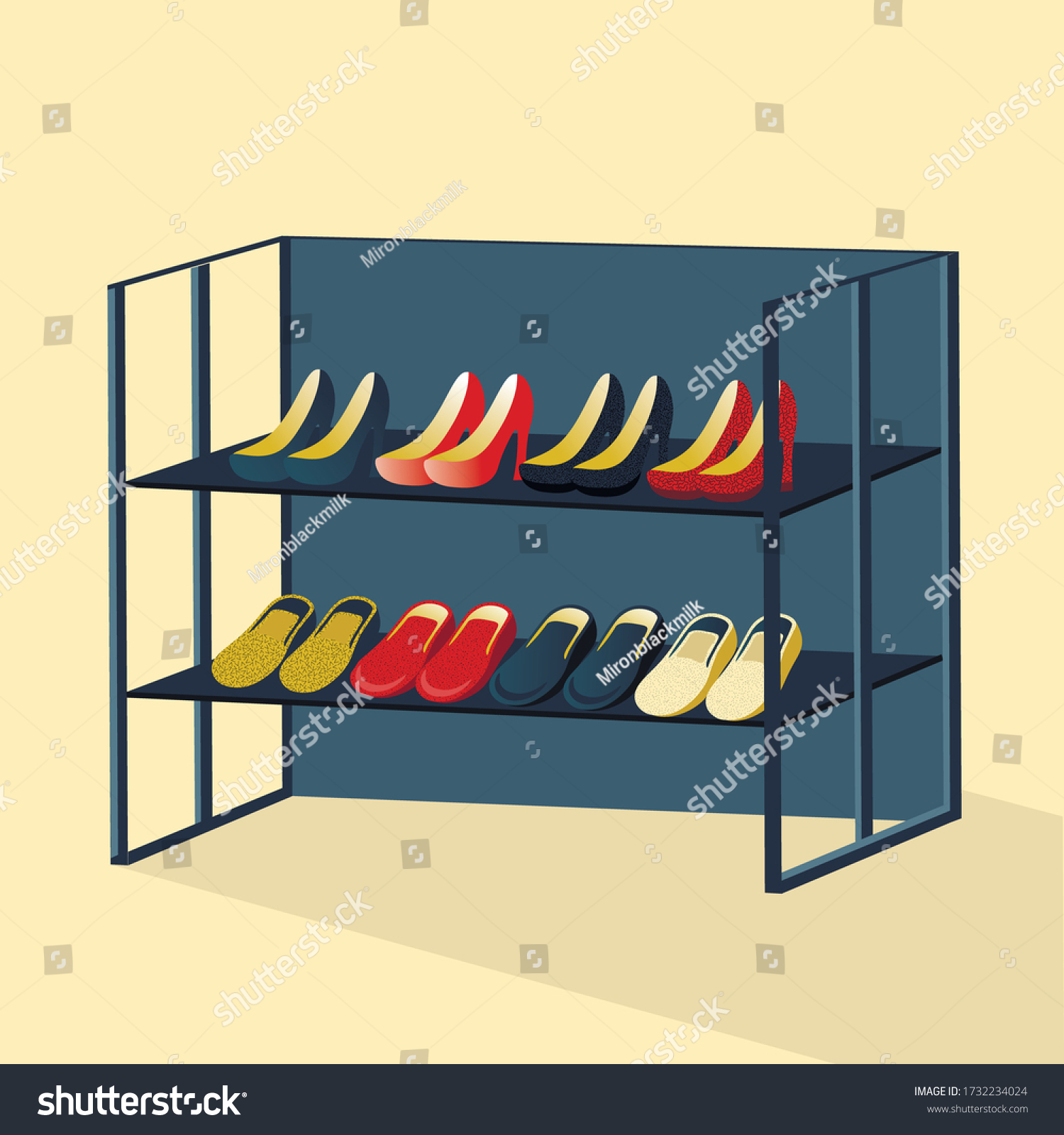 https www shutterstock com image vector isometric interior wardrobe shoe rack fashionable 1732234024