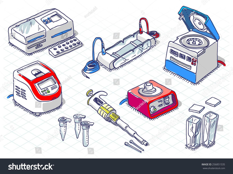 Isometric Sketch Molecular Biology Laboratory Set Clinic