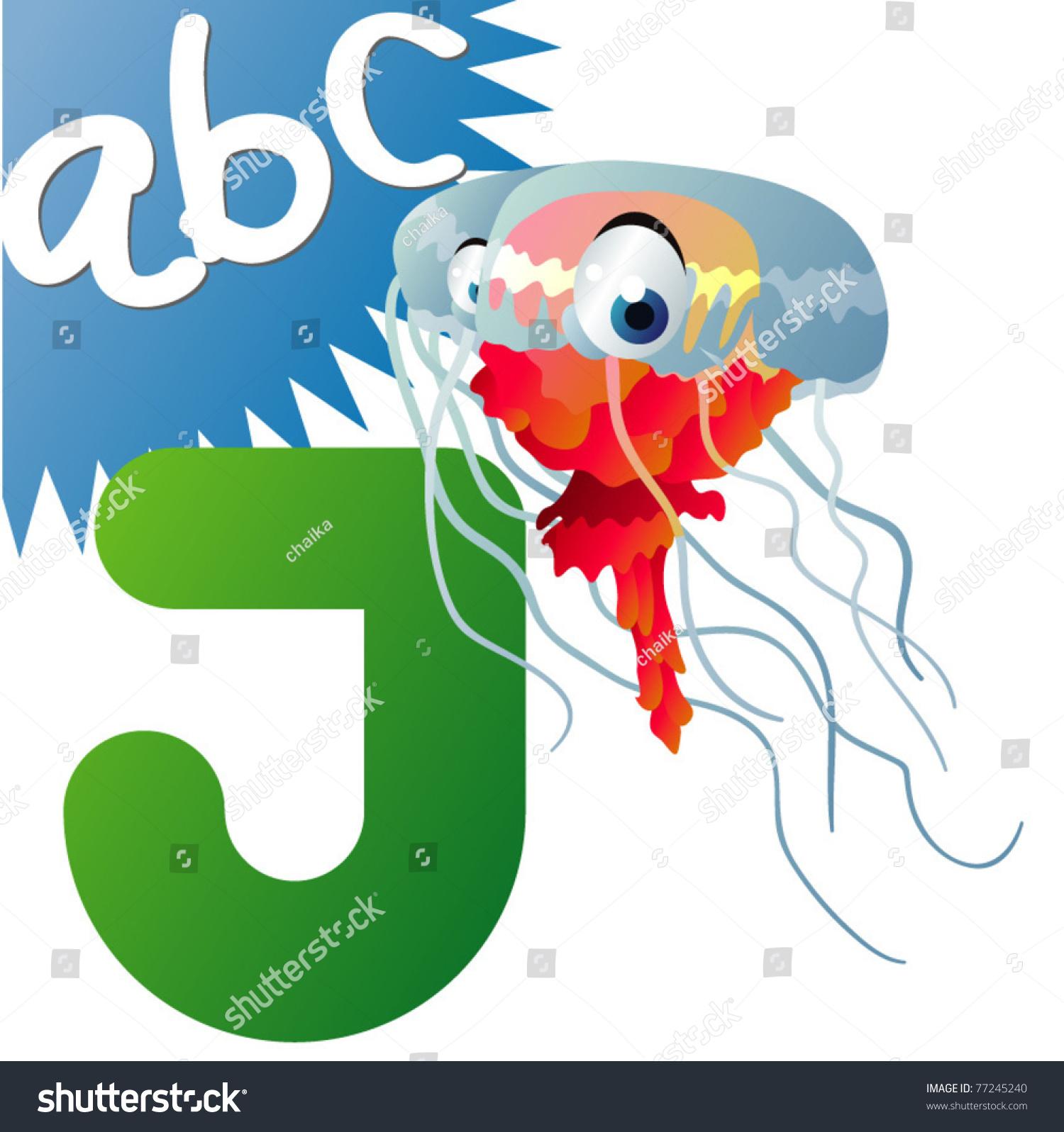 J Is For Jellyfish Stock Vector Illustration Shutterstock
