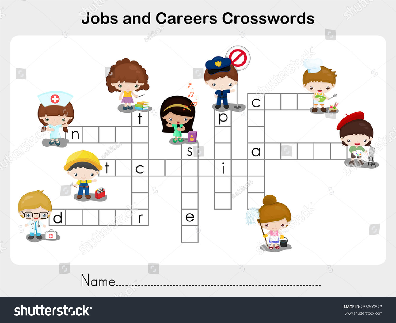 Jobs Careers Crosswords Worksheet Education Stock Vector