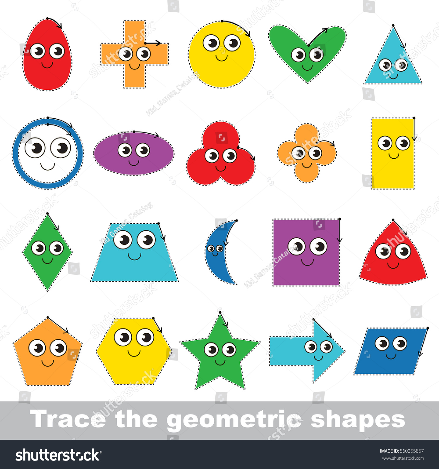 Kid Game Trace Learn Geometric Shapes Stock Vector