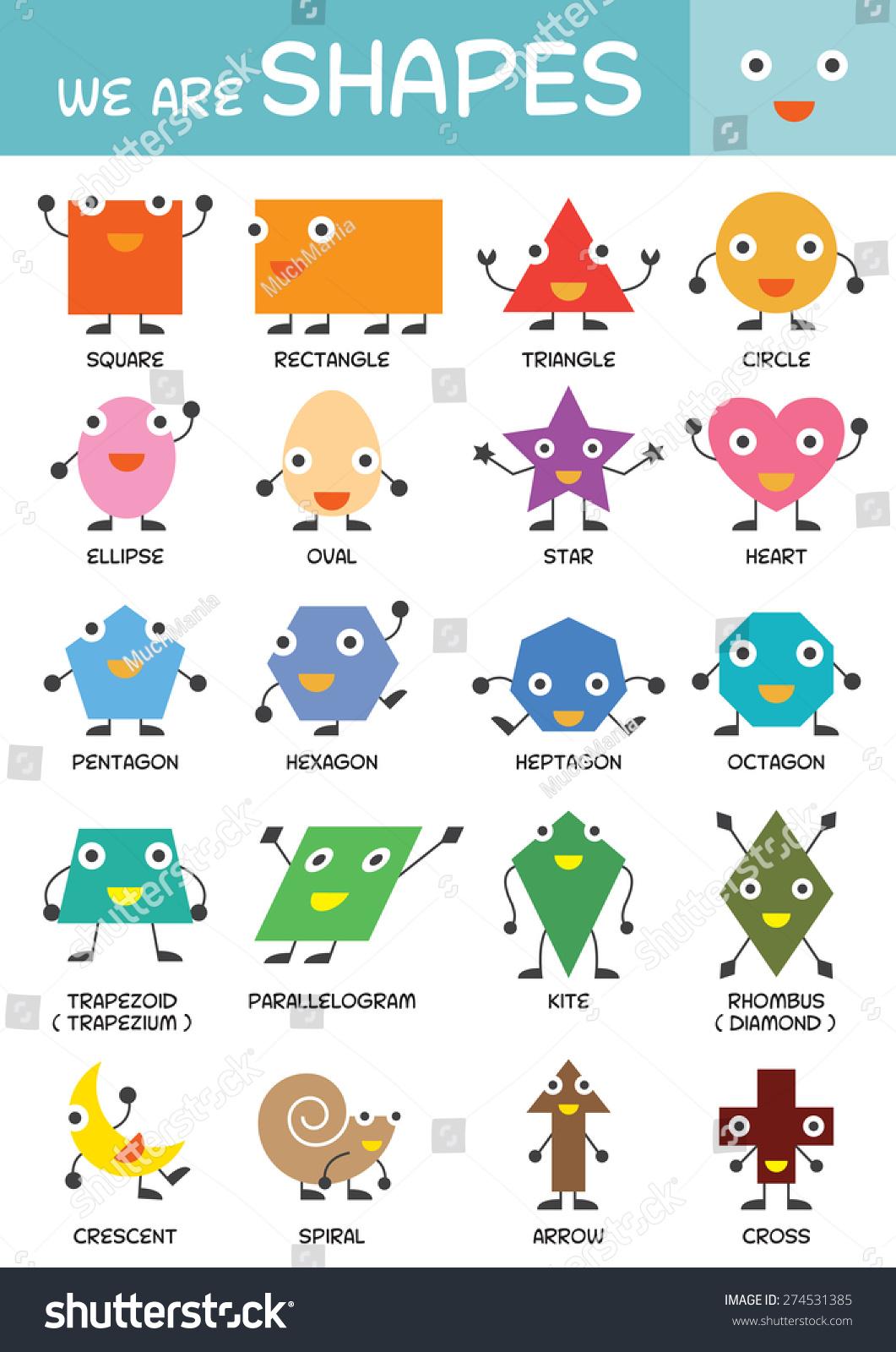 Kids Basic Shapes Chart Kindergarten Preschool Stock