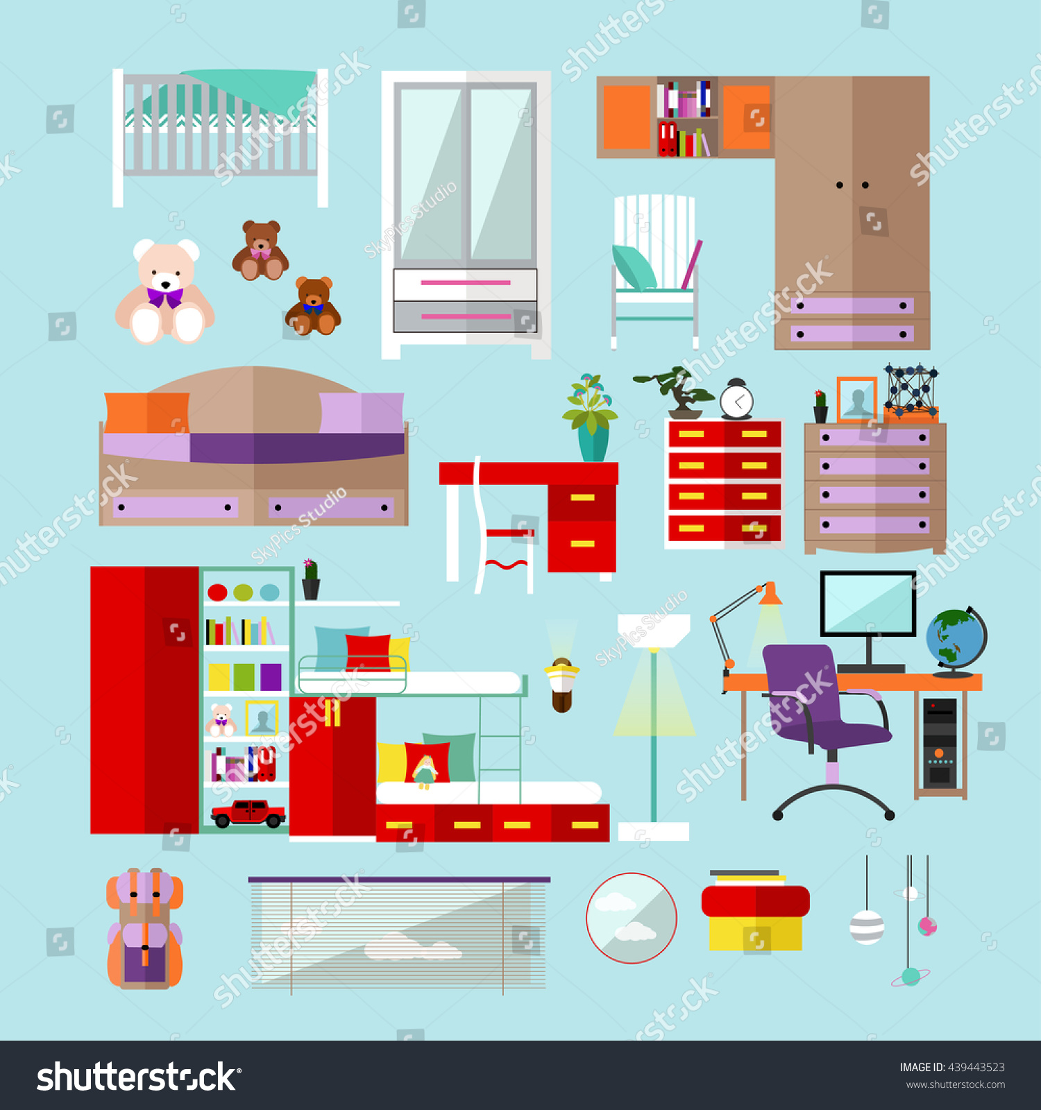 Kids Bedroom Interior Objects Flat Style Stock Vector
