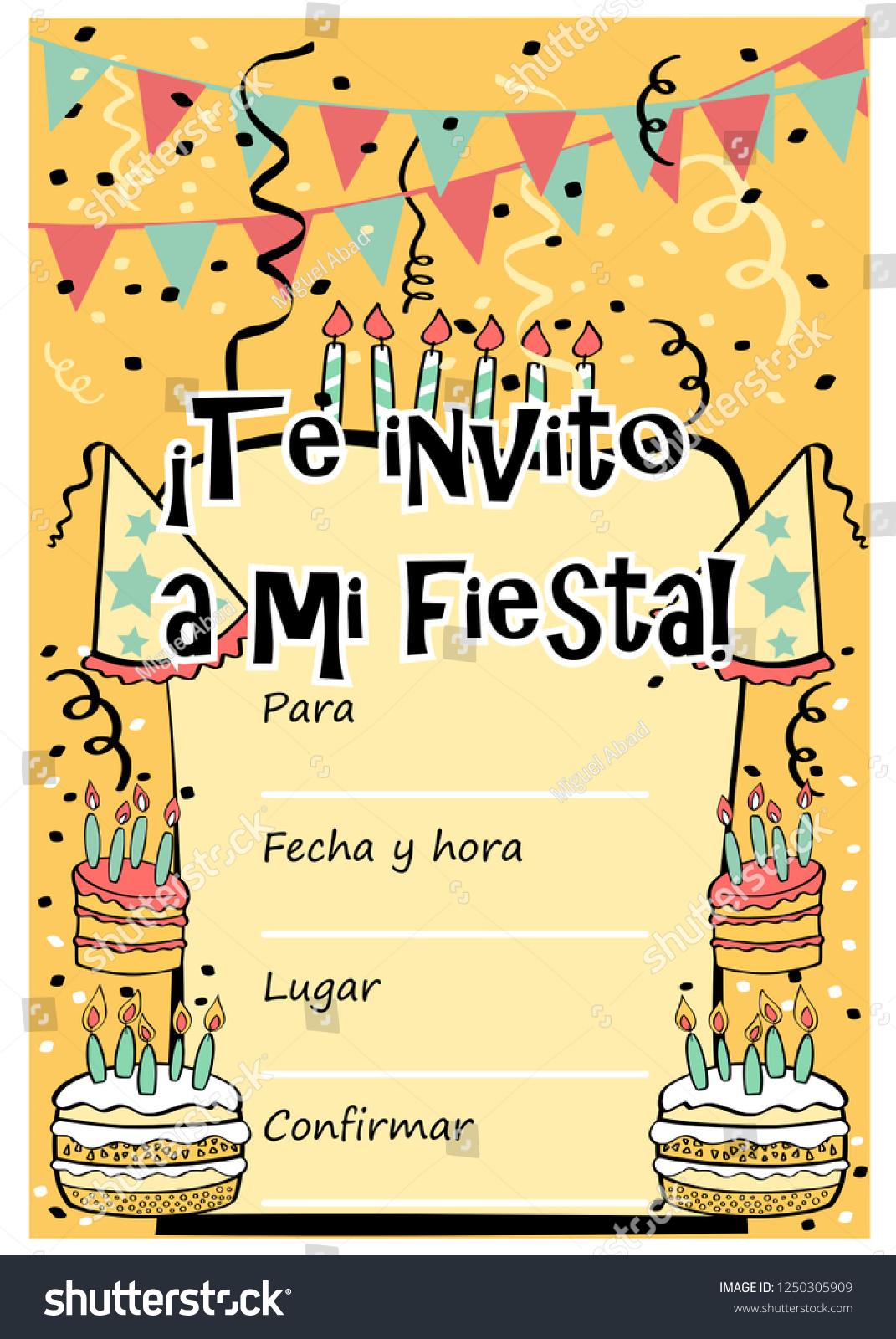 https www shutterstock com image vector kids birthday party invitation card sentence 1250305909