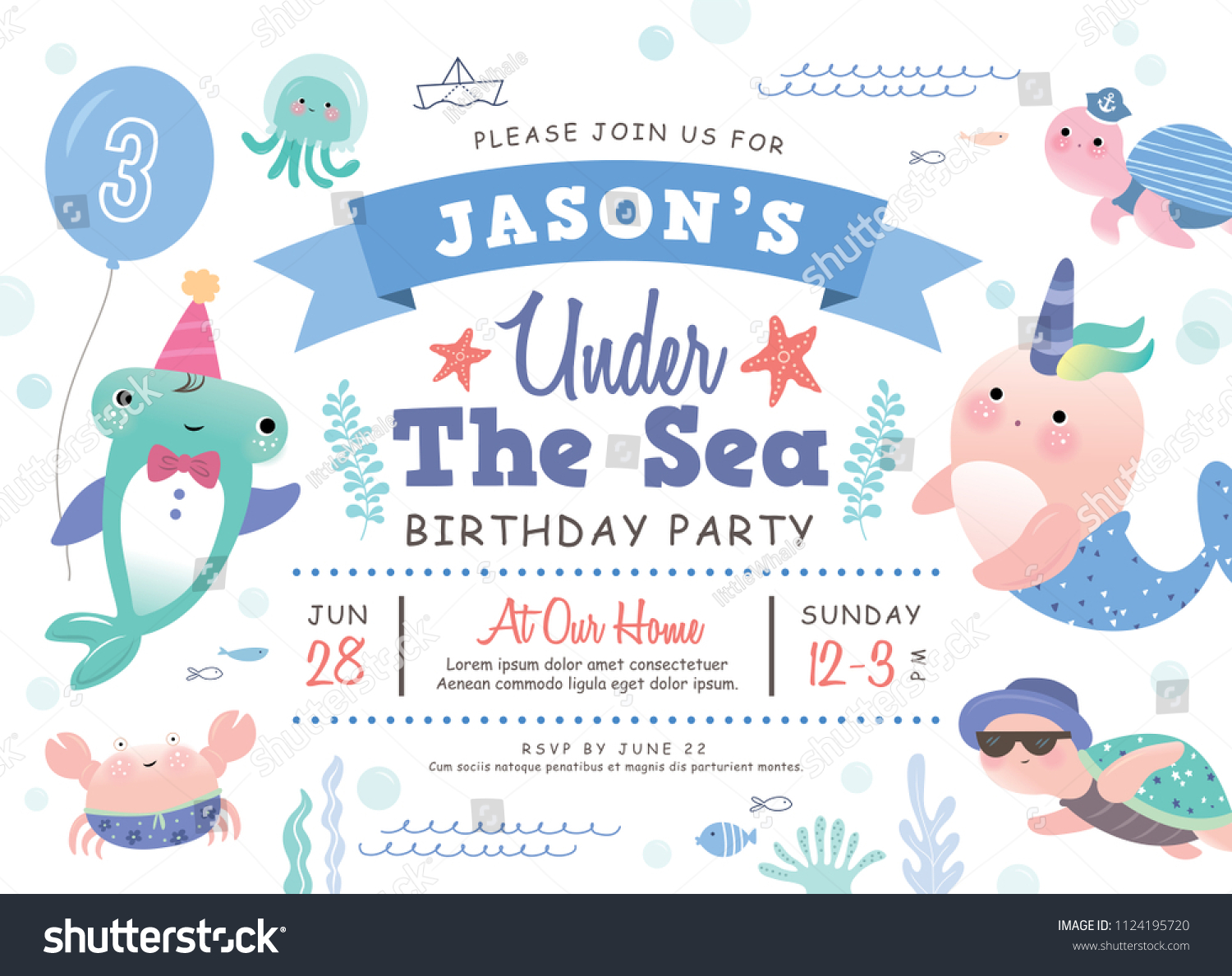 https www shutterstock com image vector kids birthday party under sea theme 1124195720