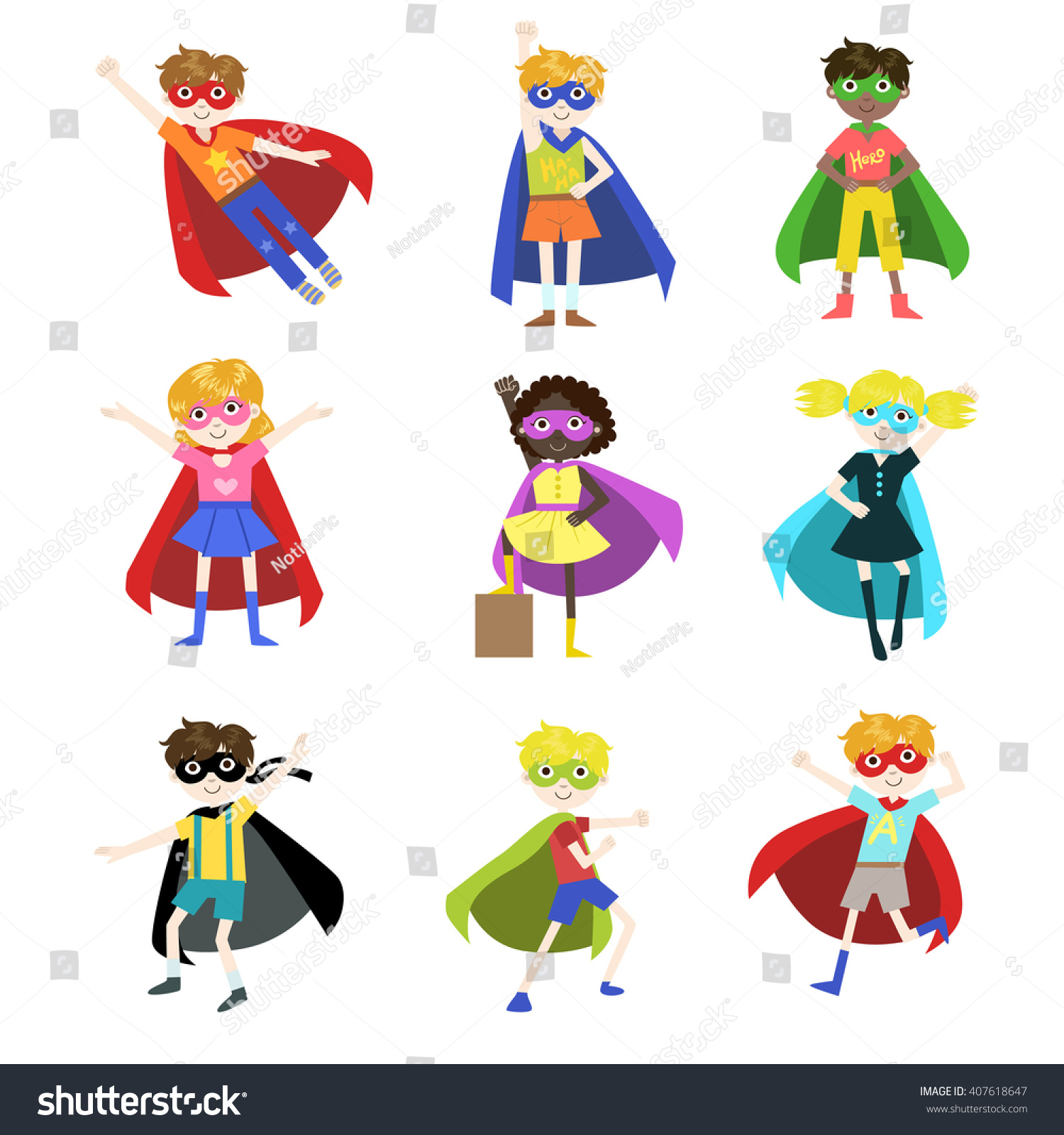 Kids Dressed As Superheroes Funny Flat Isolated Vector