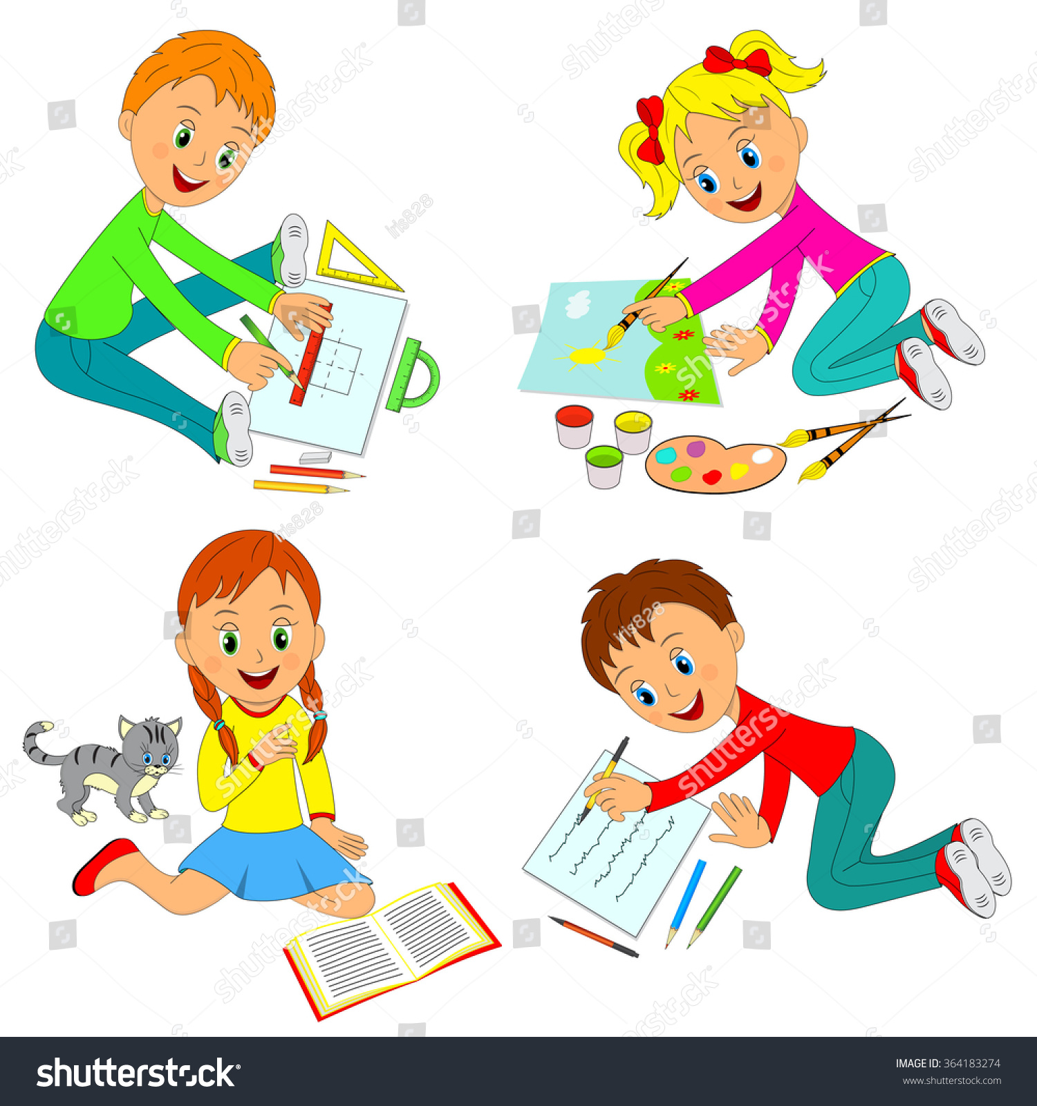 Kids Learning Activityboys Girls Drawwrite Readillustrationvector Stock Vector
