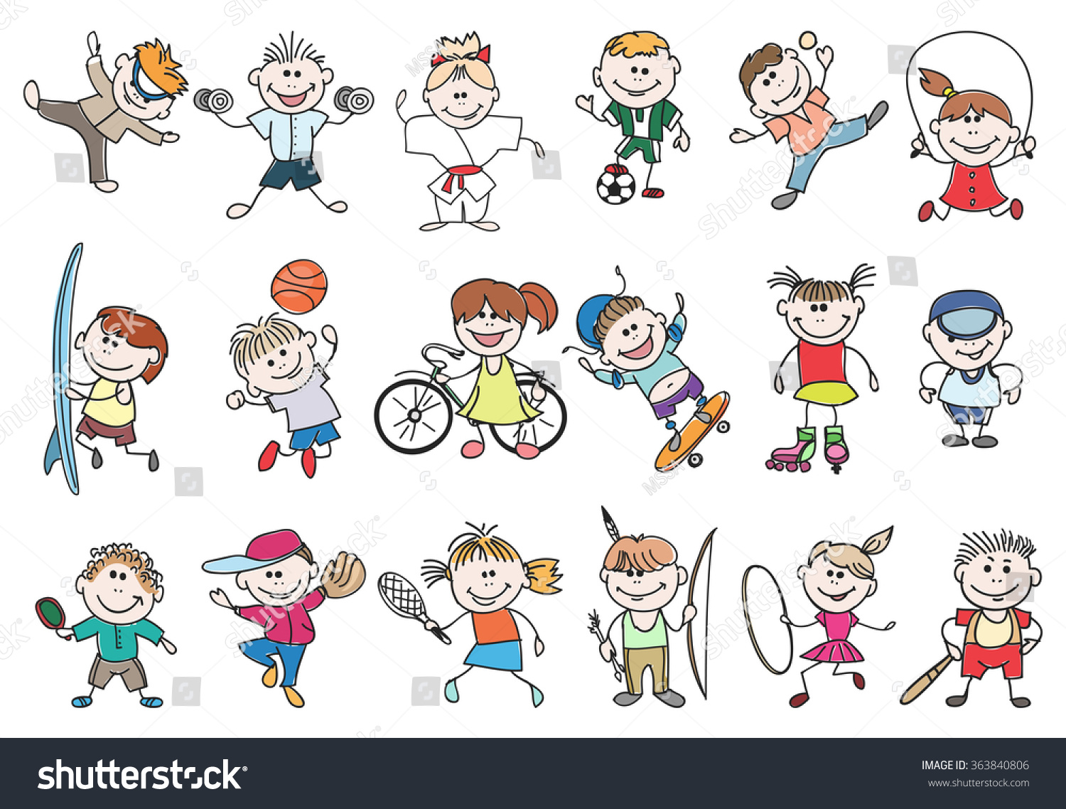 Kids Sport Activity Basketball Tennis Soccer Stock Vector