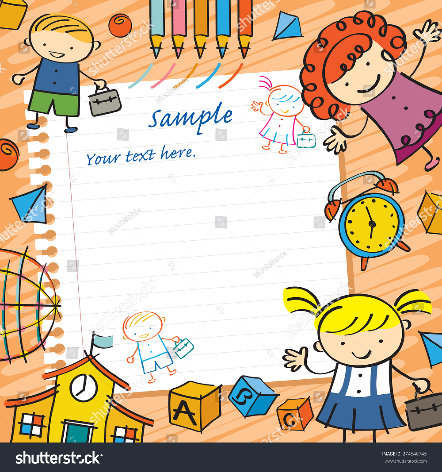 Kids With Paper Background And Toys Frame Drawing Style