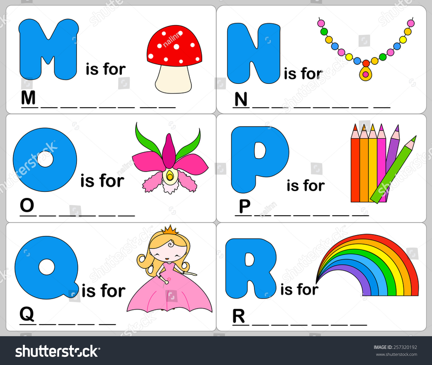 Kids Words Learning Game Worksheets Simple Stock Vector