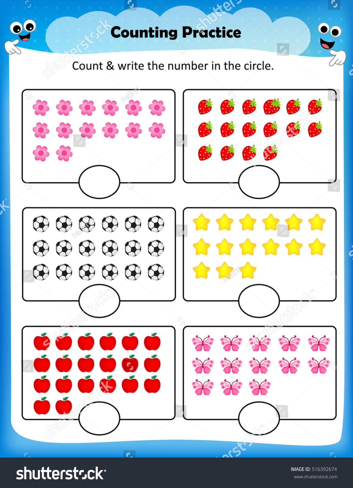 Kids Worksheet Counting Practice Maths Worksheet Stock