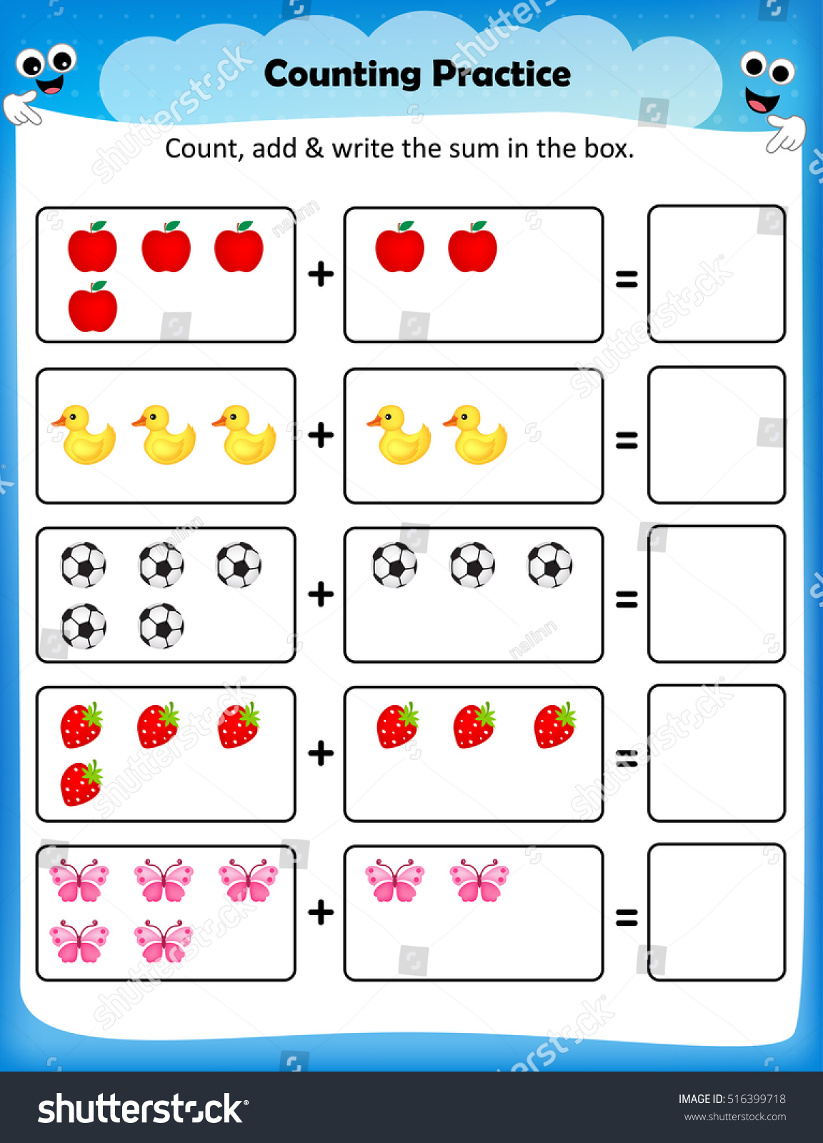 Kids Worksheet Counting Practice Maths Worksheet Stock Vector