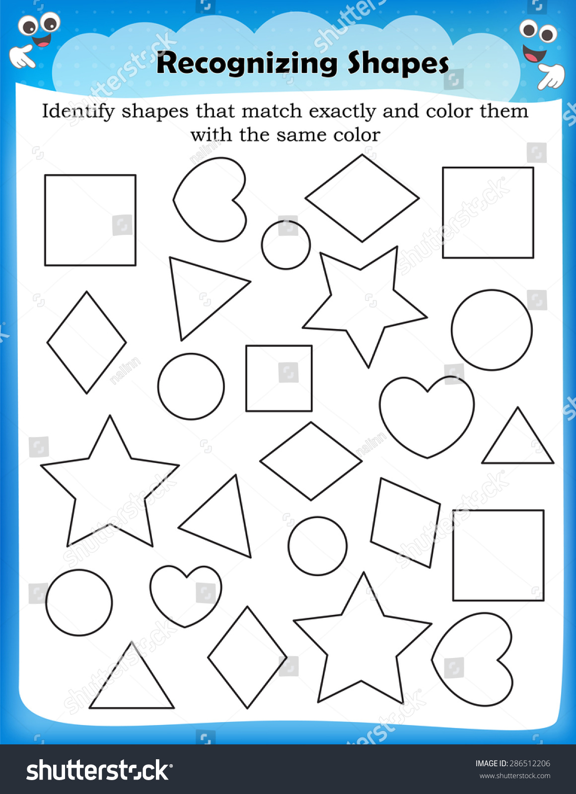 Kids Worksheet Identifying Different Shapes Stock Vector