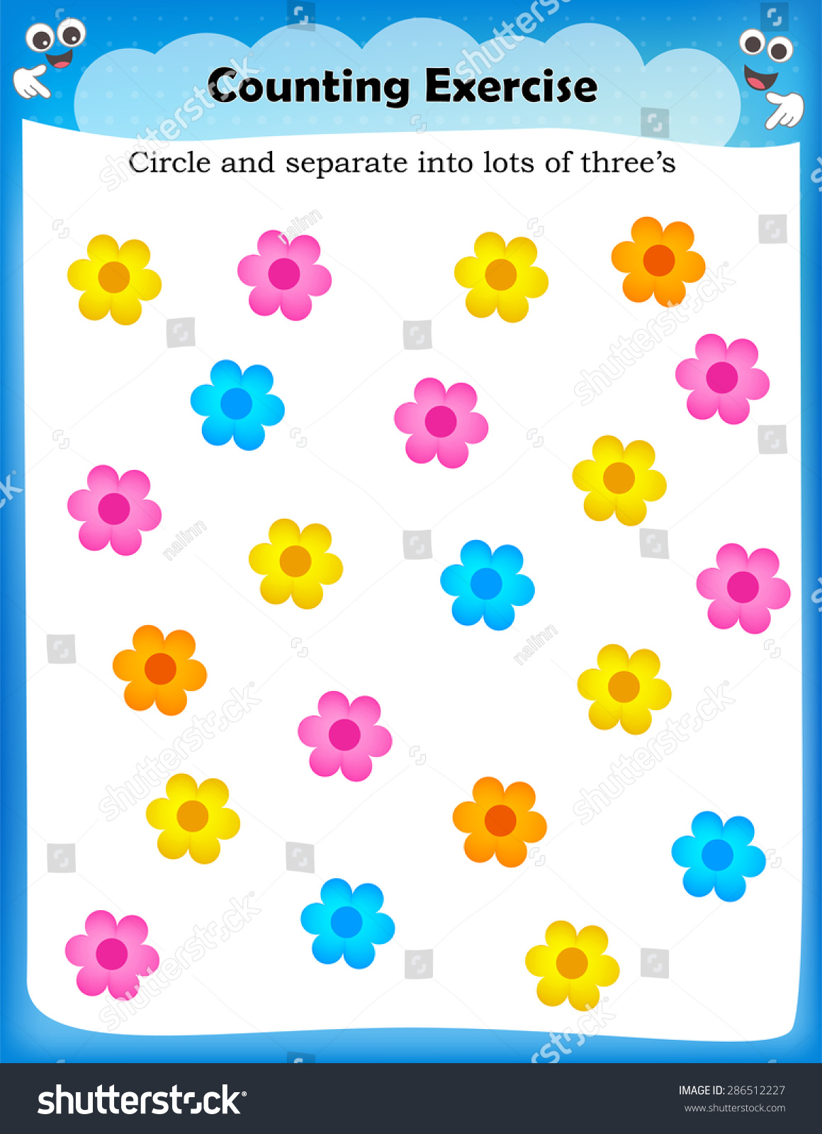 Kids Worksheet Counting Exercises Count Separate Stock