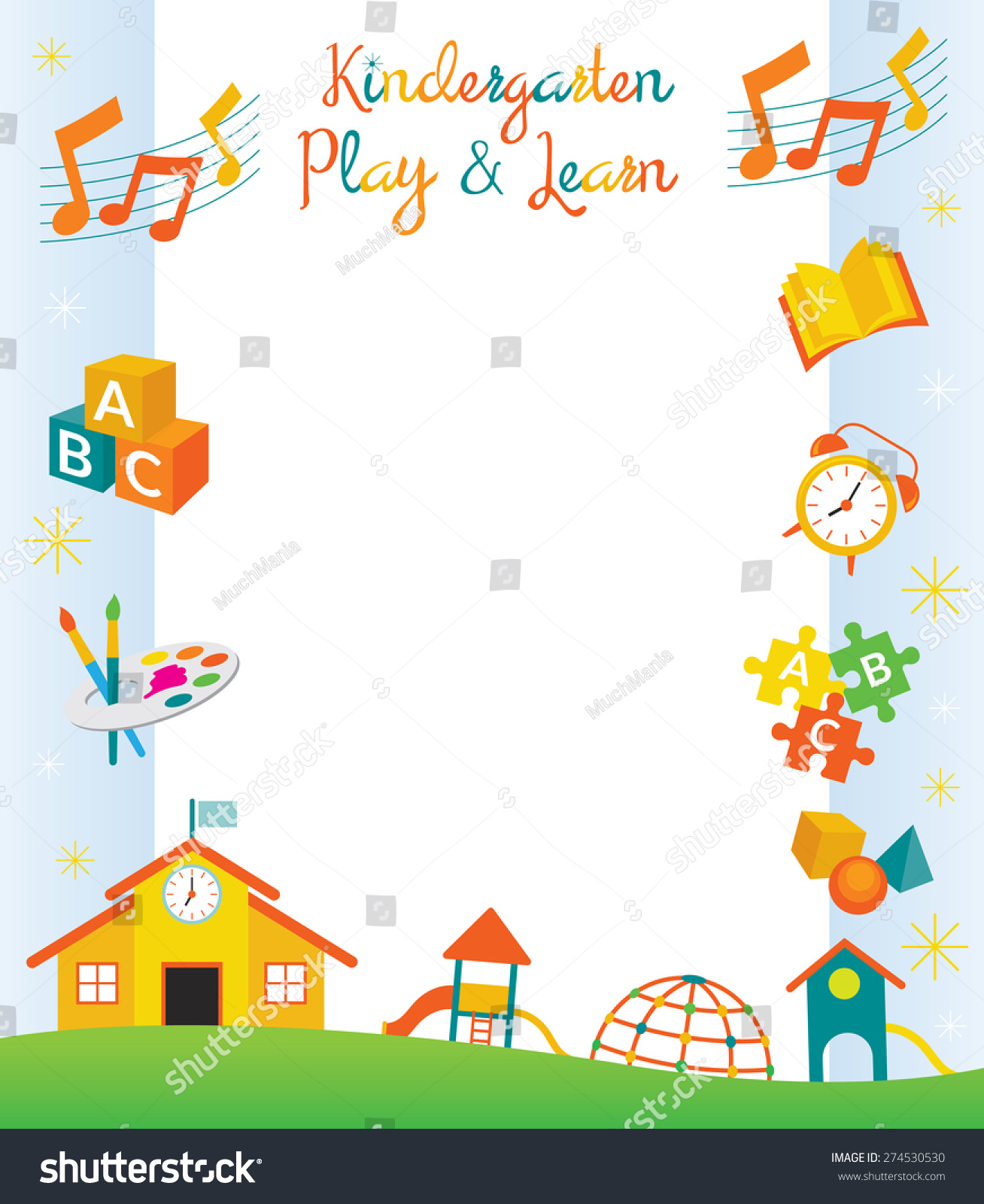 Kindergarten Preschool Kids Objects Border And Frame