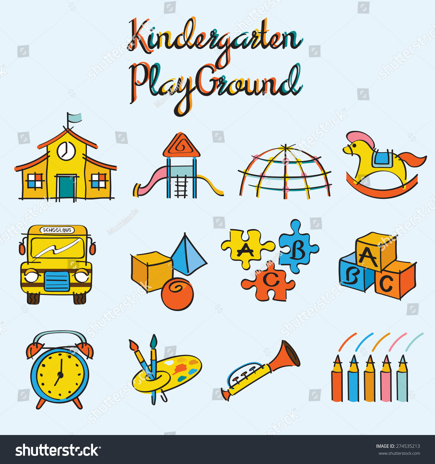 Kindergarten Toys And Playground Set Drawing Style