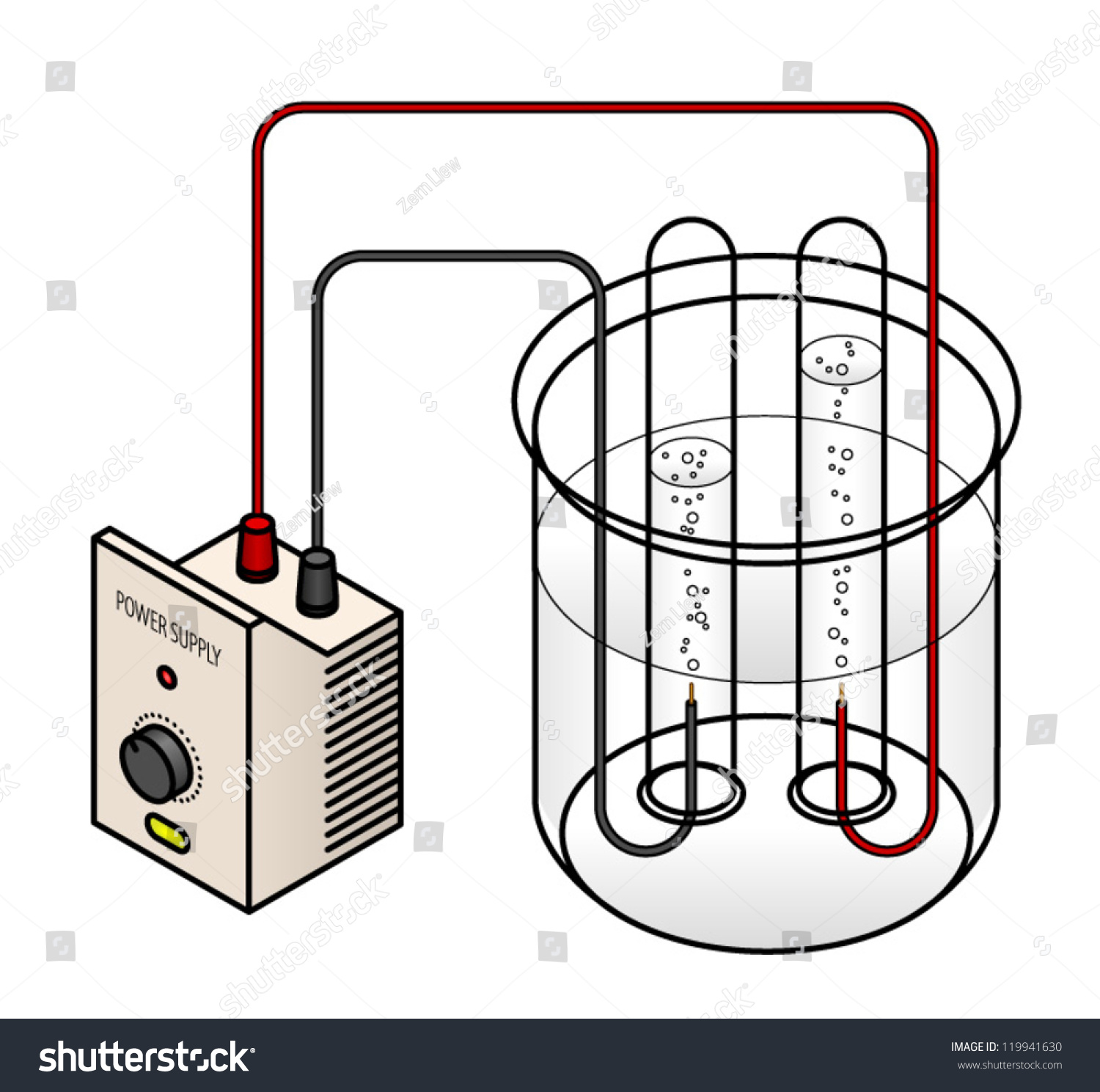 Lab Setup Electrolysis Water Into Hydrogen Stock Vector