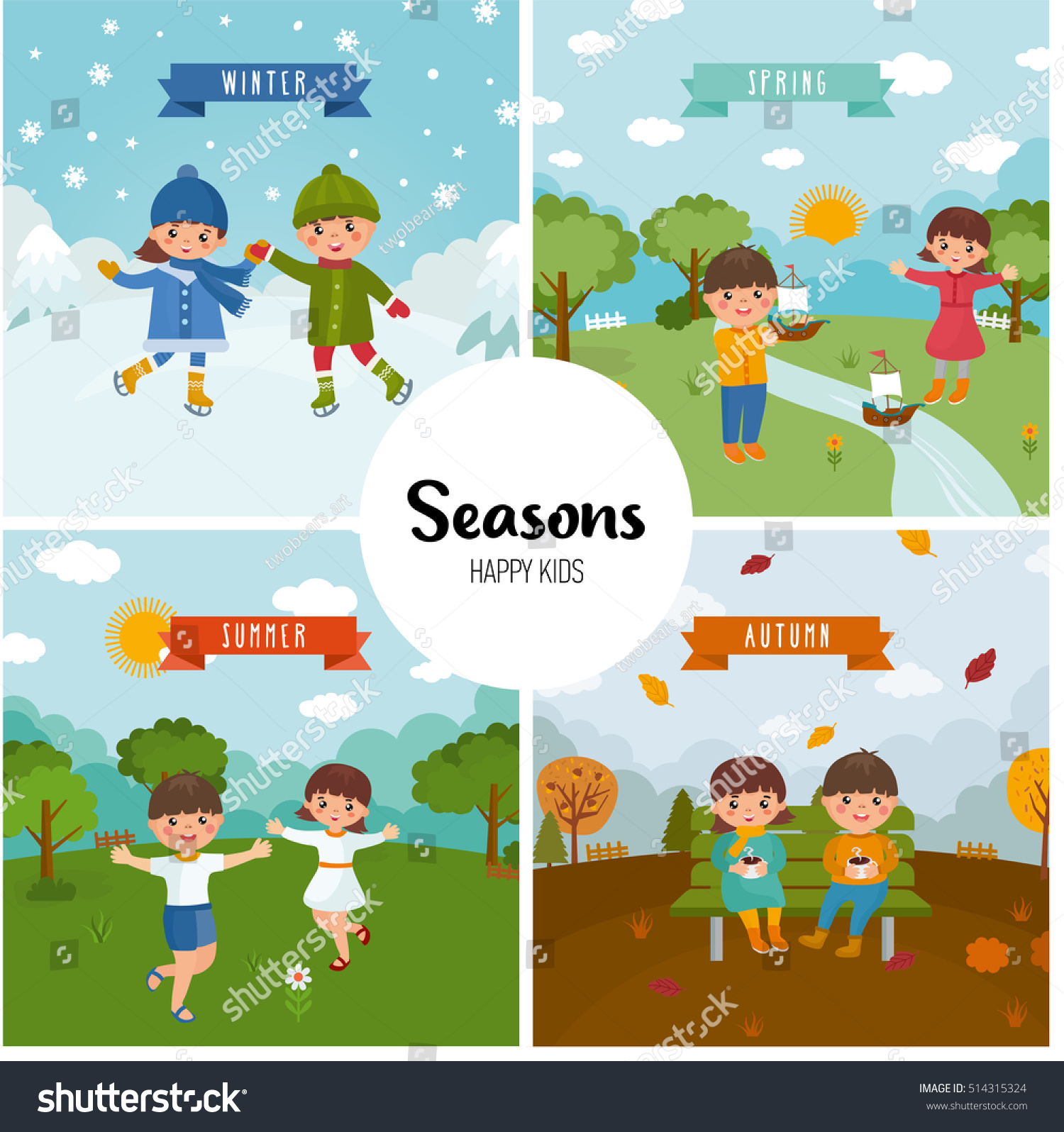 Large Set Seasons Beautiful Scenery Winter Stock Vector