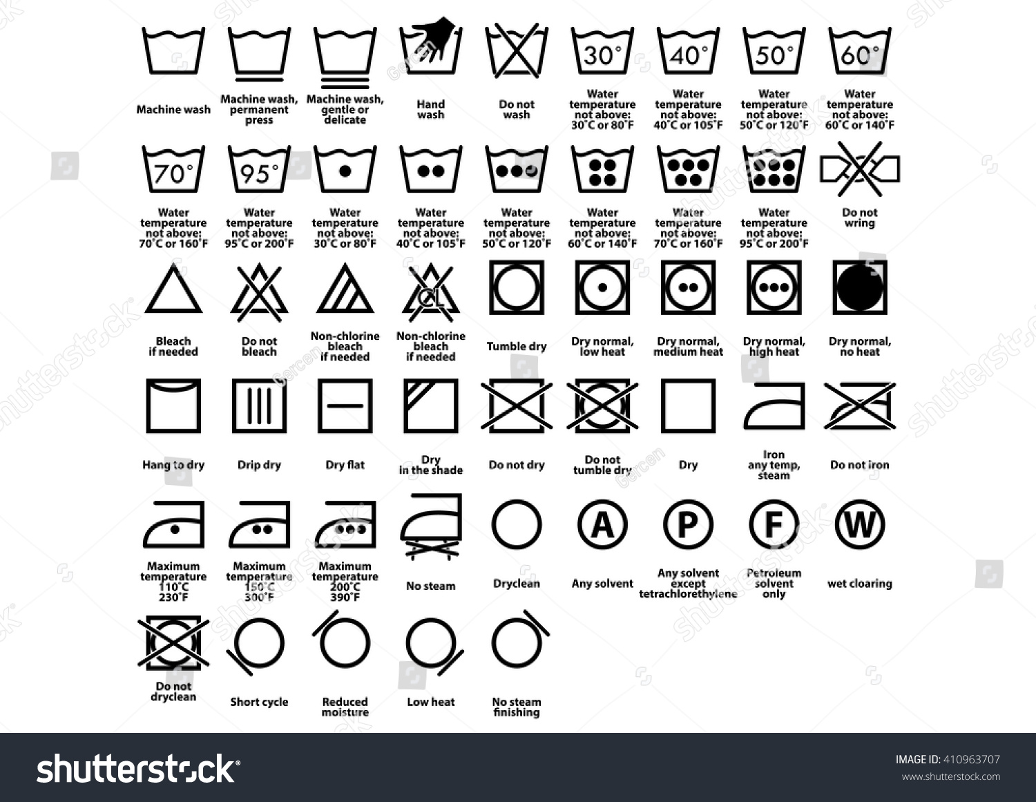 Laundry care instruction symbols biocorpaavc Image collections