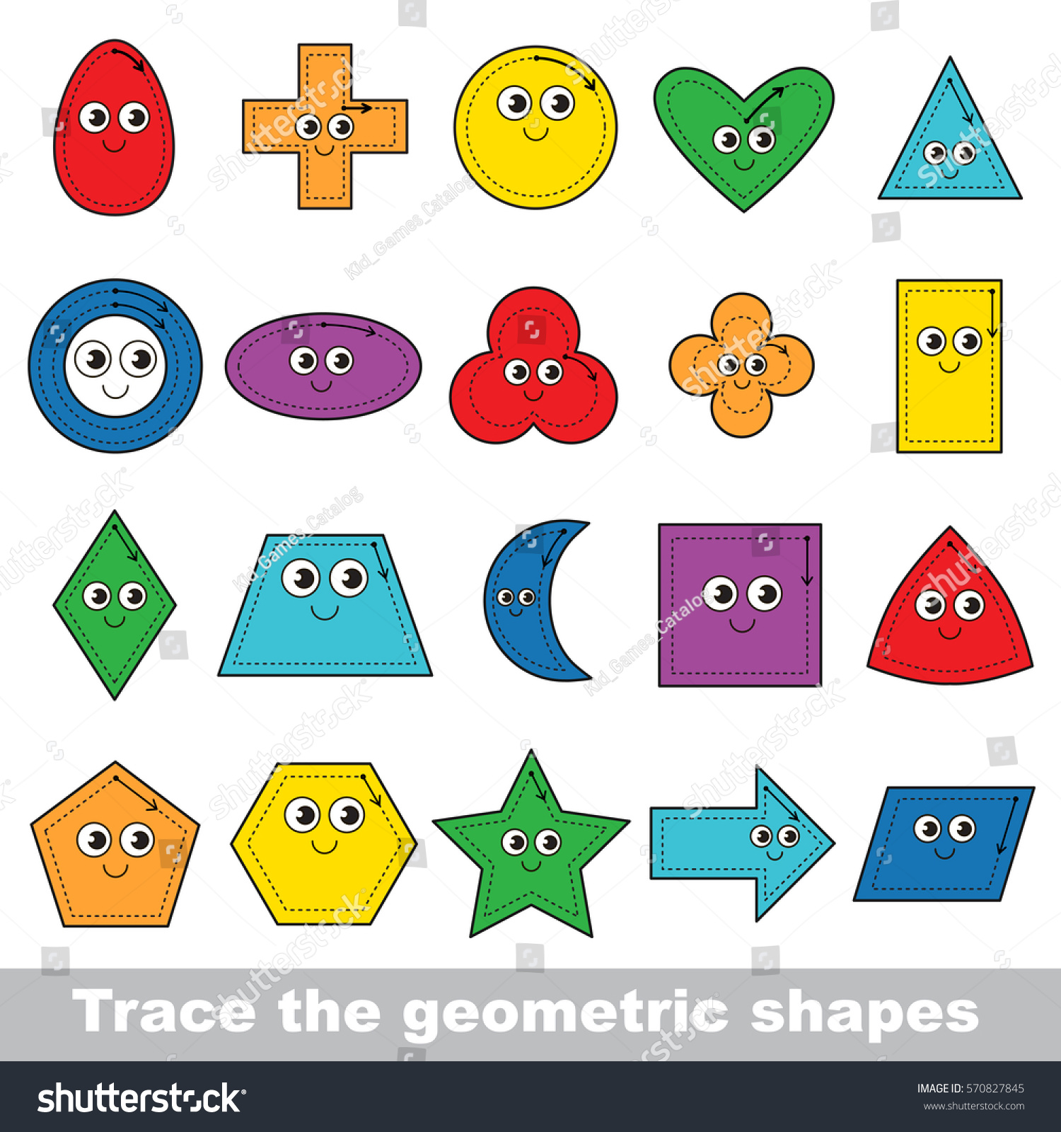 Learn Geometric Shapes Ring Square Other Stock Vector