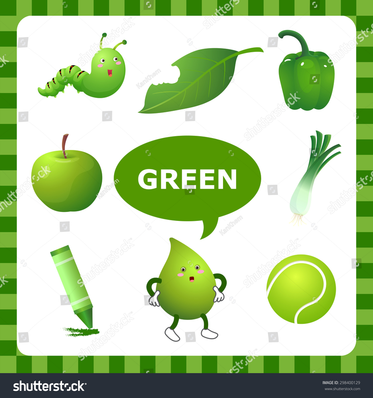 Learn Color Green Things That Green Stock Vector