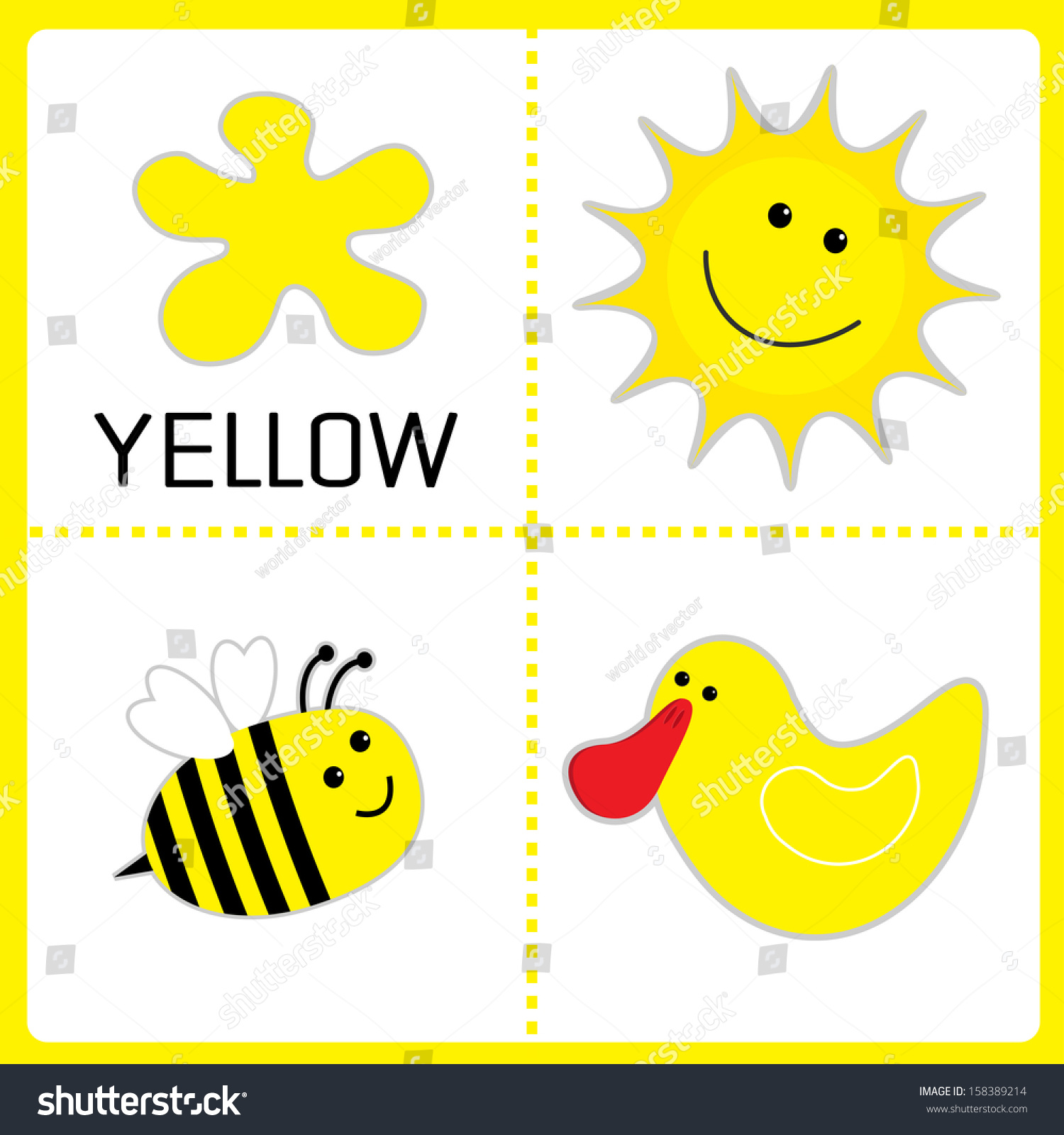 Learning Yellow Color Sun Bee And Duck Educational