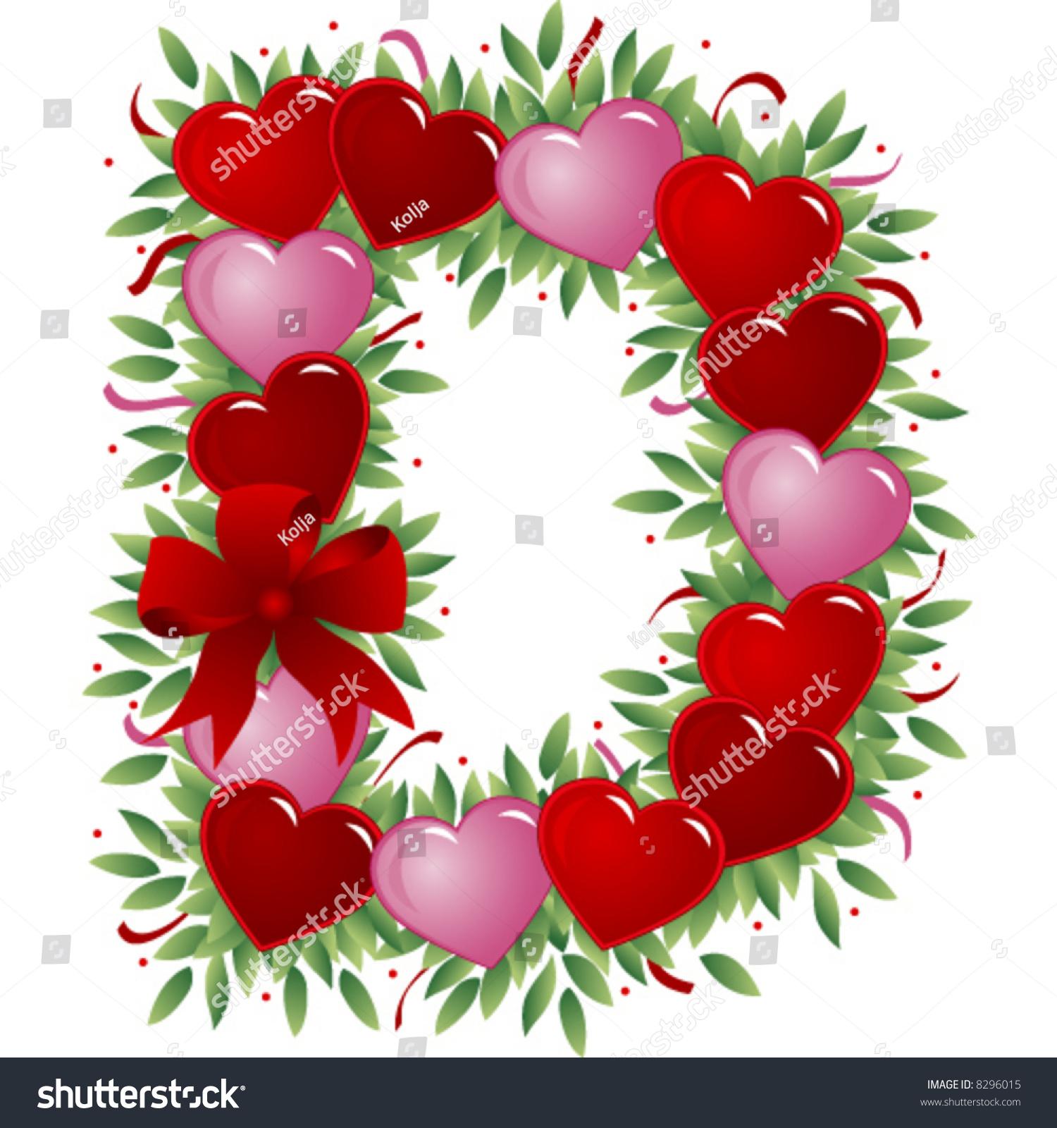 Letter D Valentine Heart Letter Stock Vector