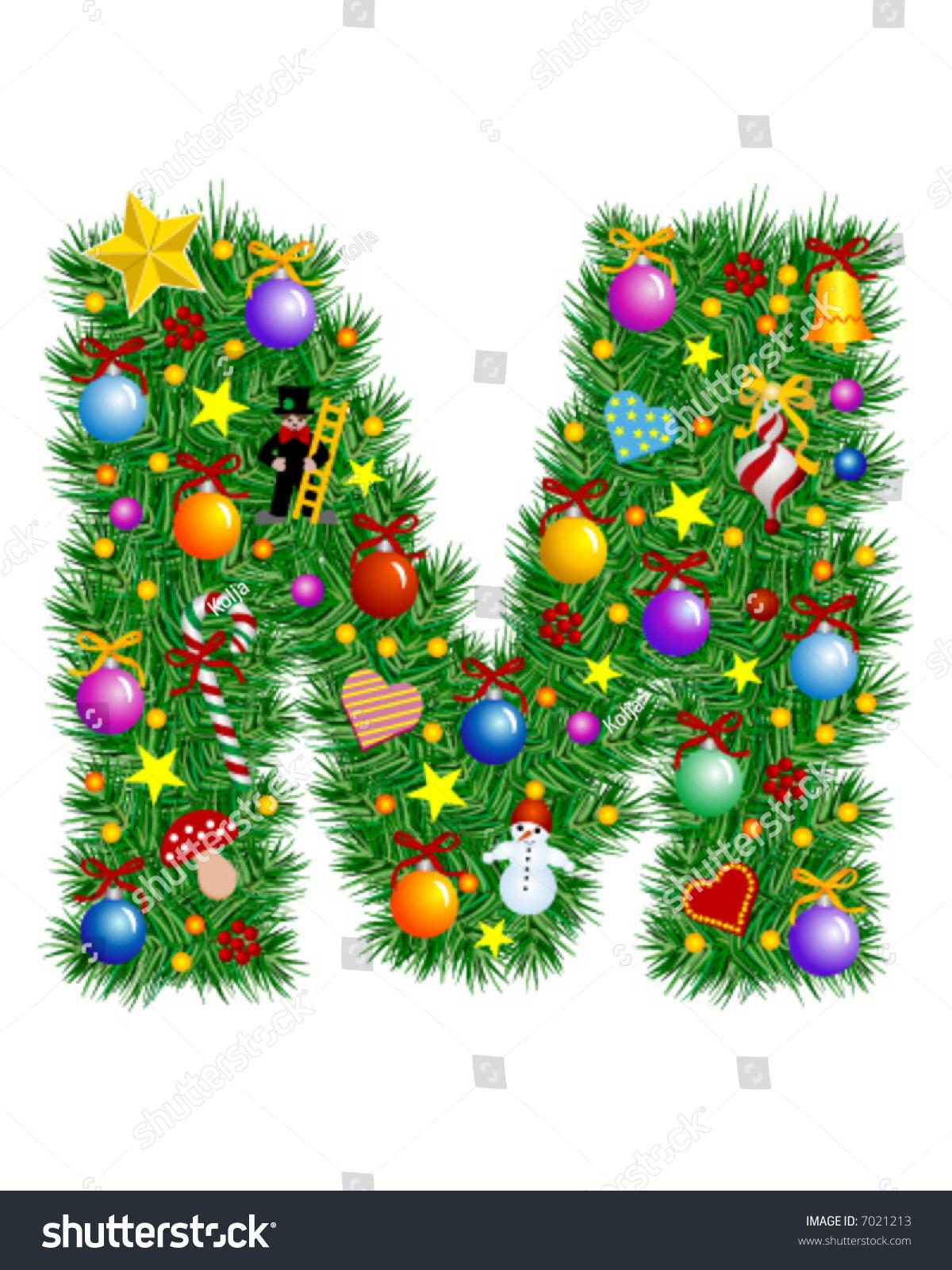 Letter M Christmas Tree Decoration Alphabet Stock Vector