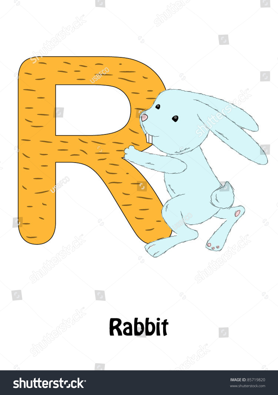 Letter R And Rabbit