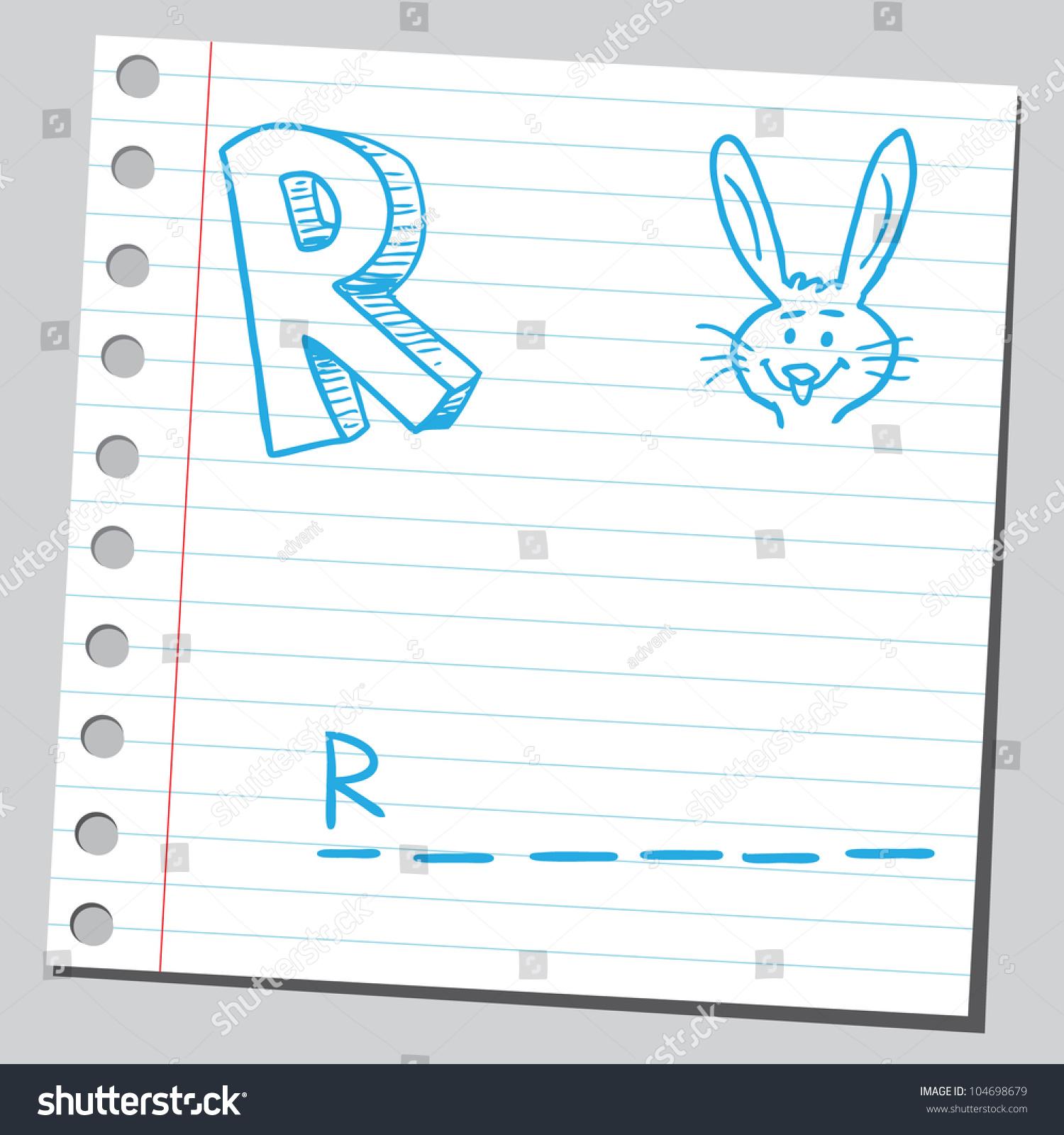 Letter R Rabbit Stock Vector