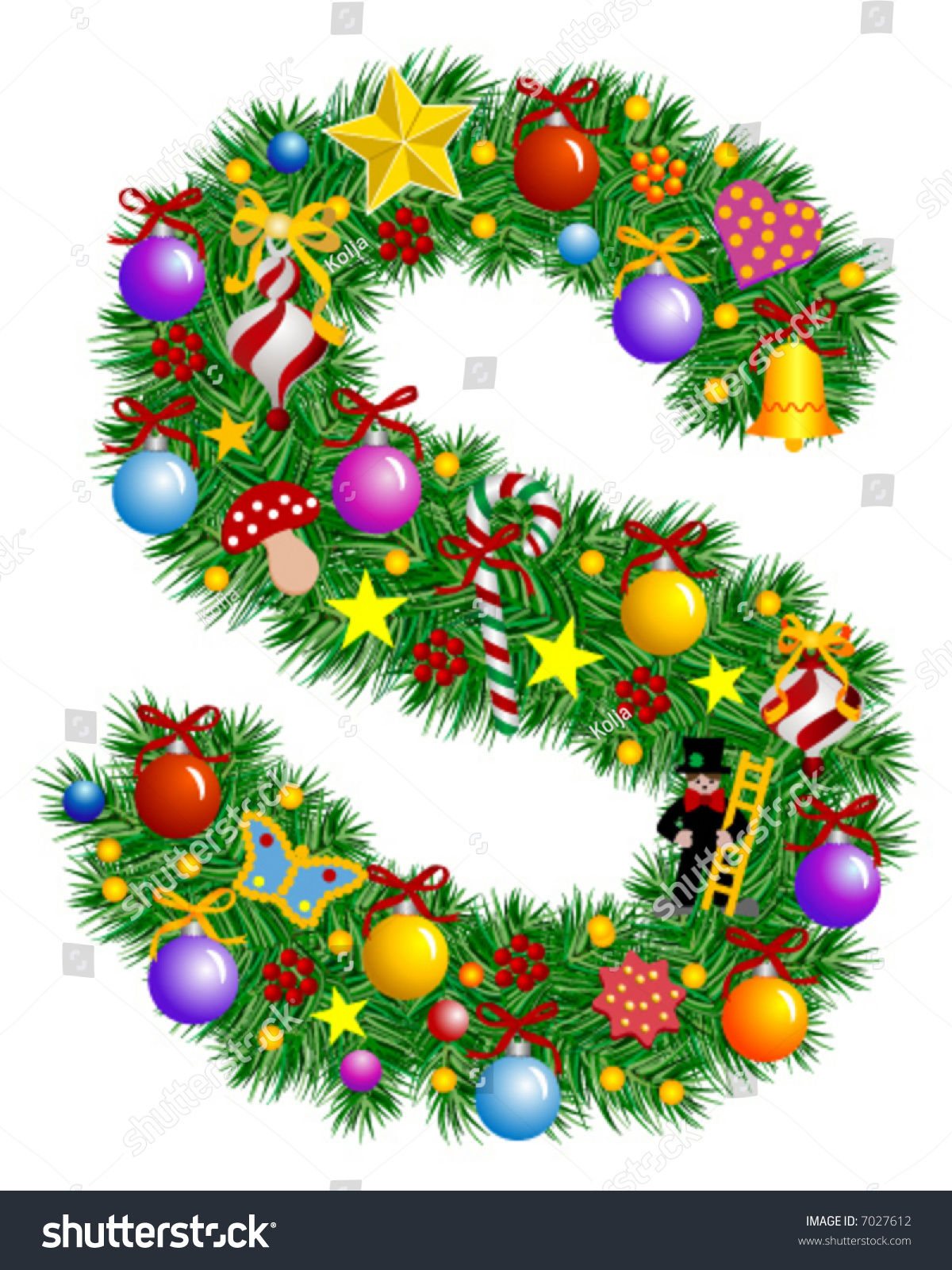 Letter S Christmas Decoration Alphabet Stock Vector
