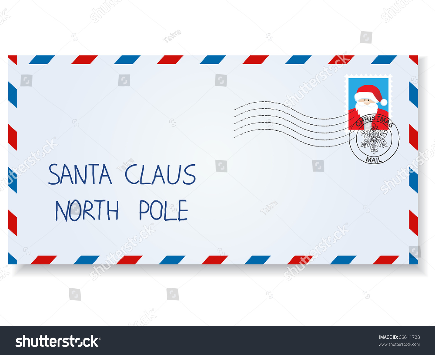 Letter Santa Claus Stamps Postage Marks Stock Vector