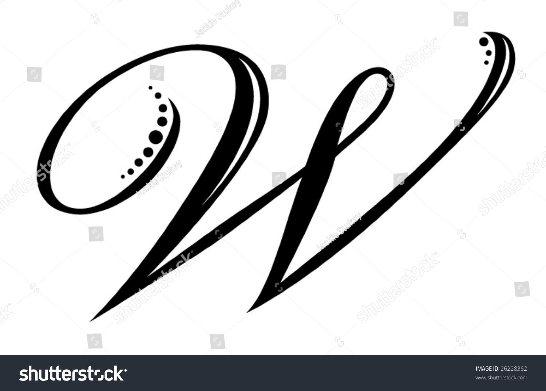 Calligraphy Alphabet Stencil W