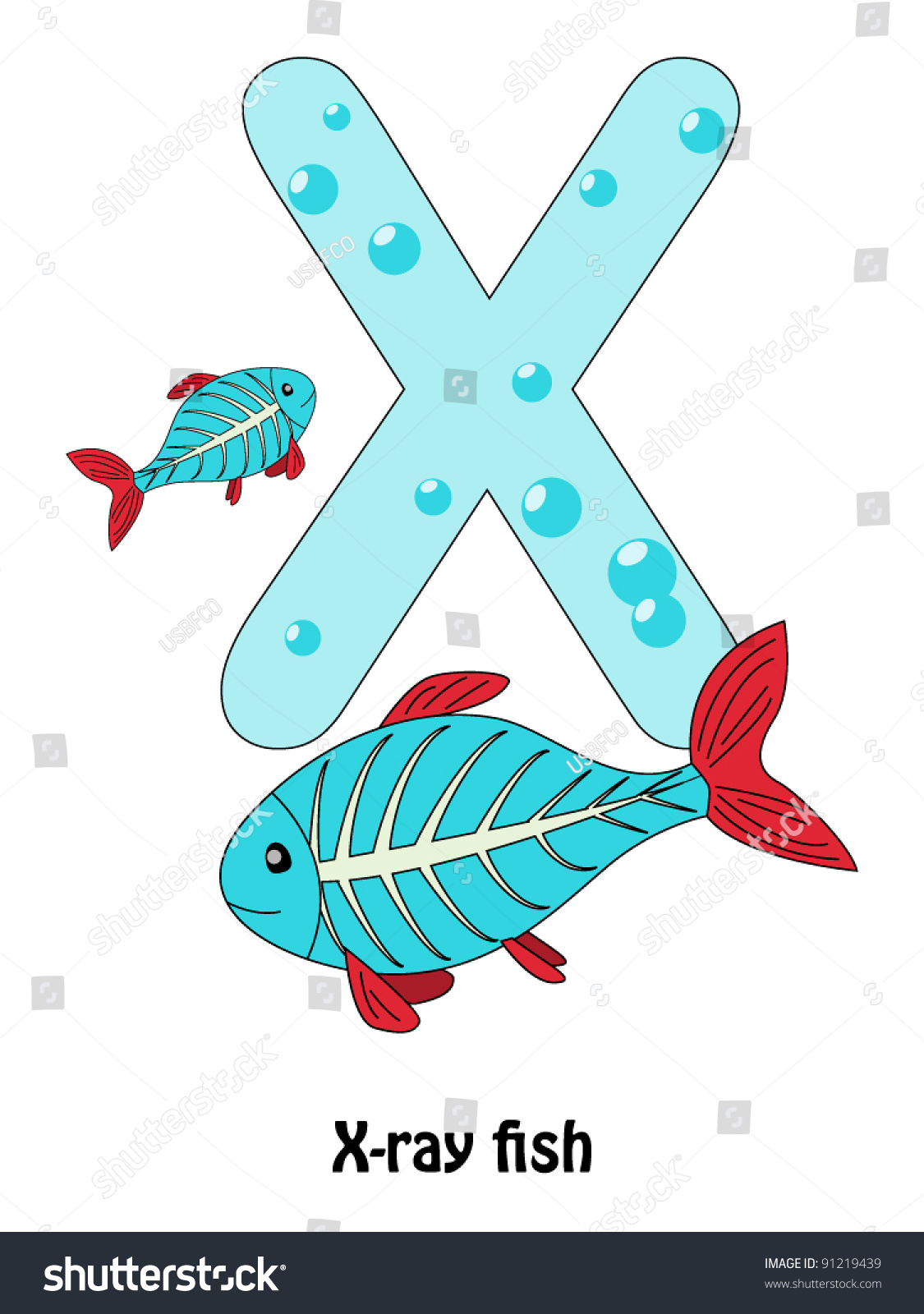 Letter X Xray Fish Alphabet Children Stock Vector