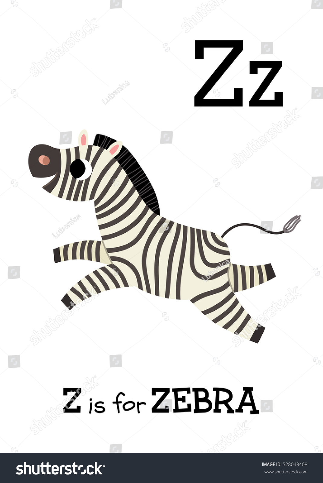 Letter Z Zebra Cute Children Zoo Stock Vector