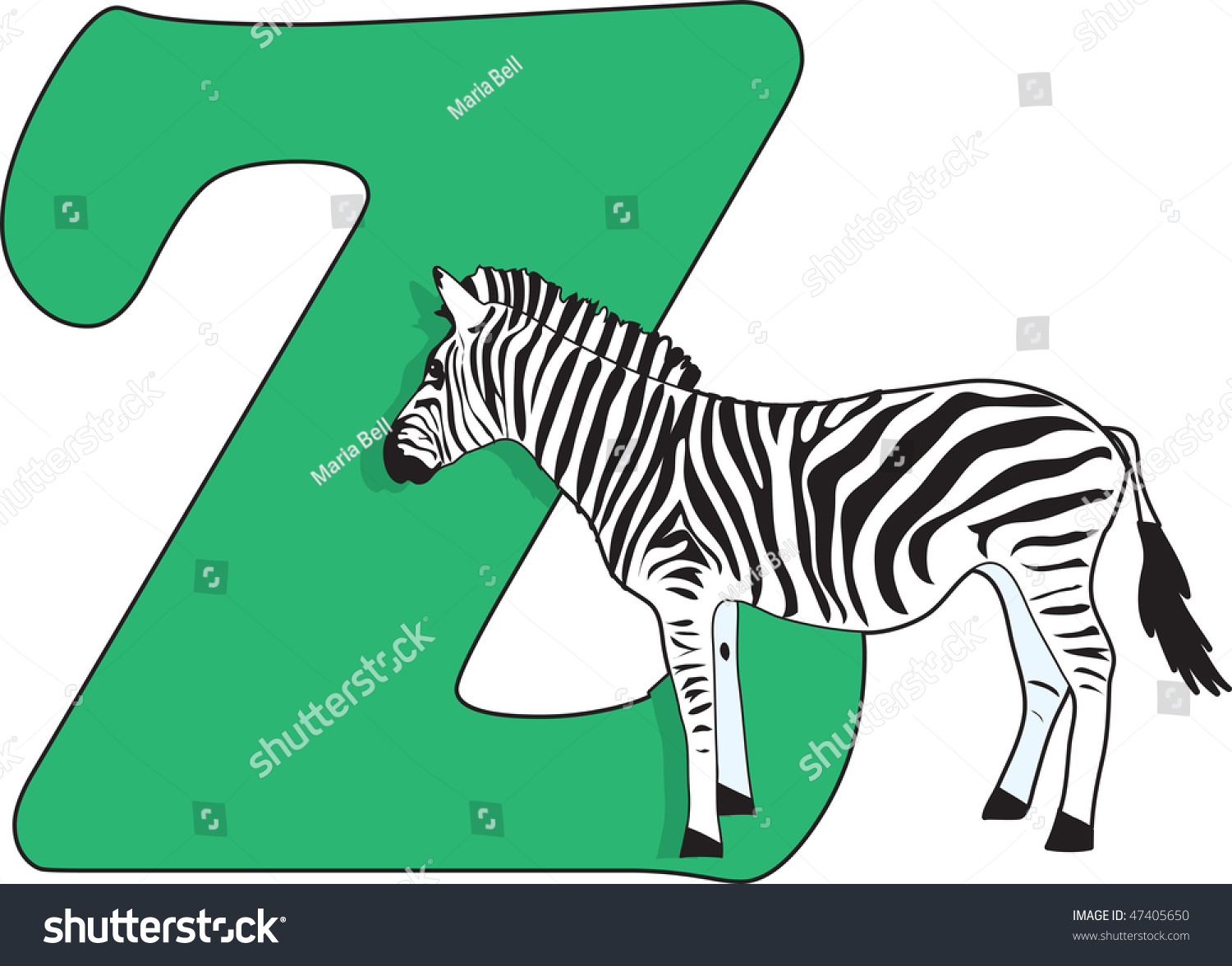 Letter Z With A Zebra Stock Vector Illustration