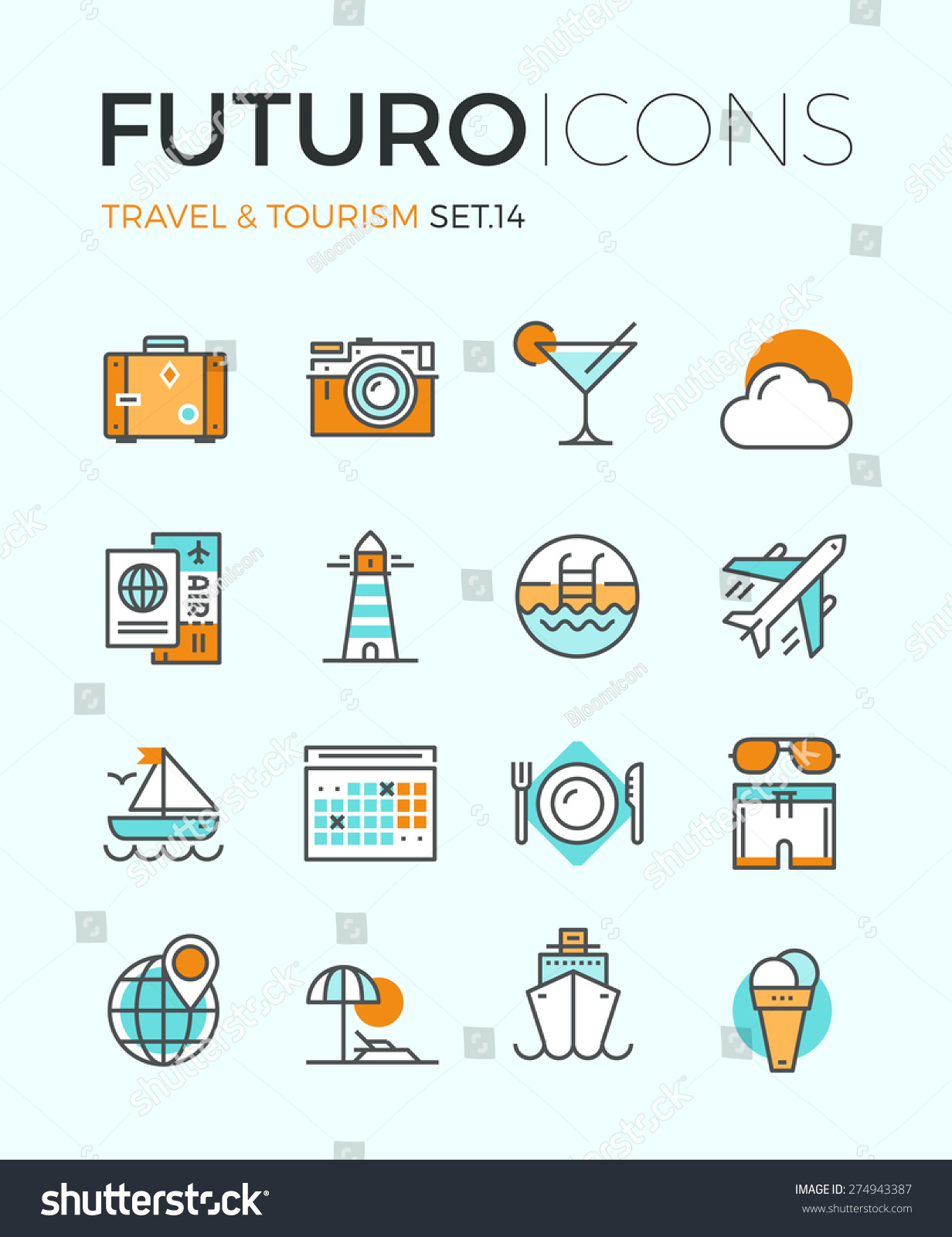 Line Icons Flat Design Elements Air Stock Vector