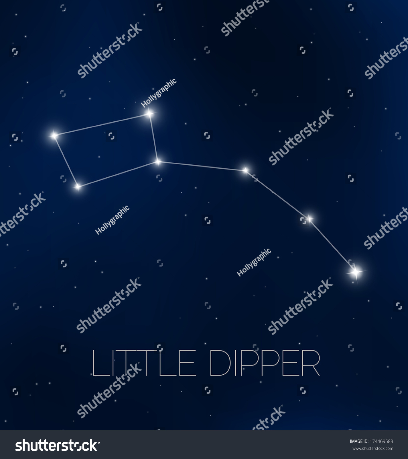 Little Dipper Constellation Night Sky Stock Vector