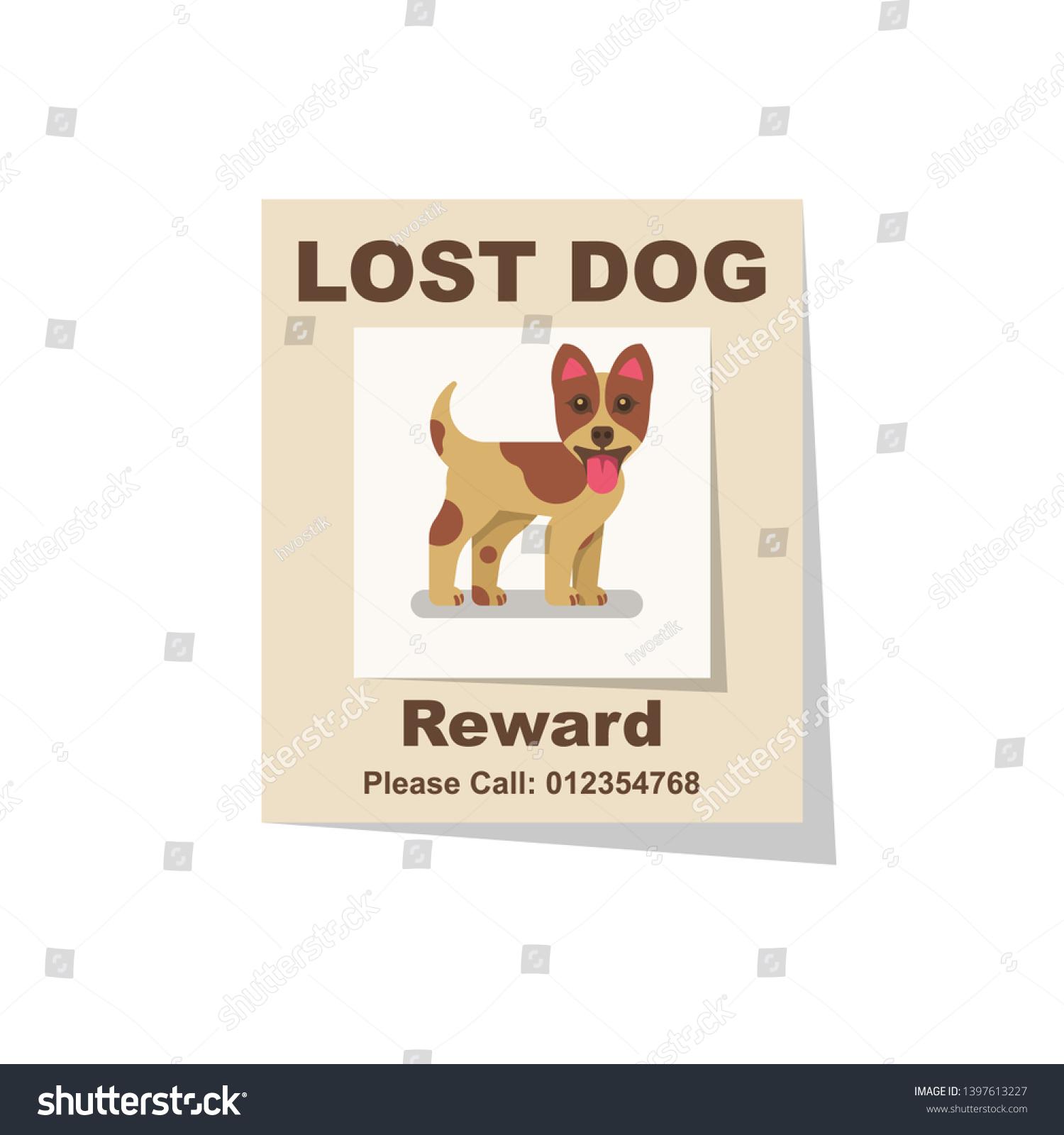 https www shutterstock com de image vector lost dog reward find missing poster 1397613227