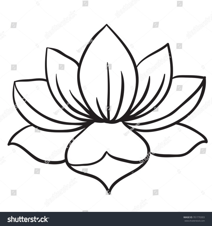 Lotus Flower Black White Cartoon Ilration Stock Vector 701770303