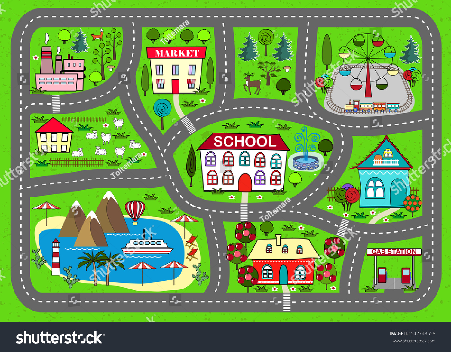 Lovely City Car Track Play Mat Stock Vector