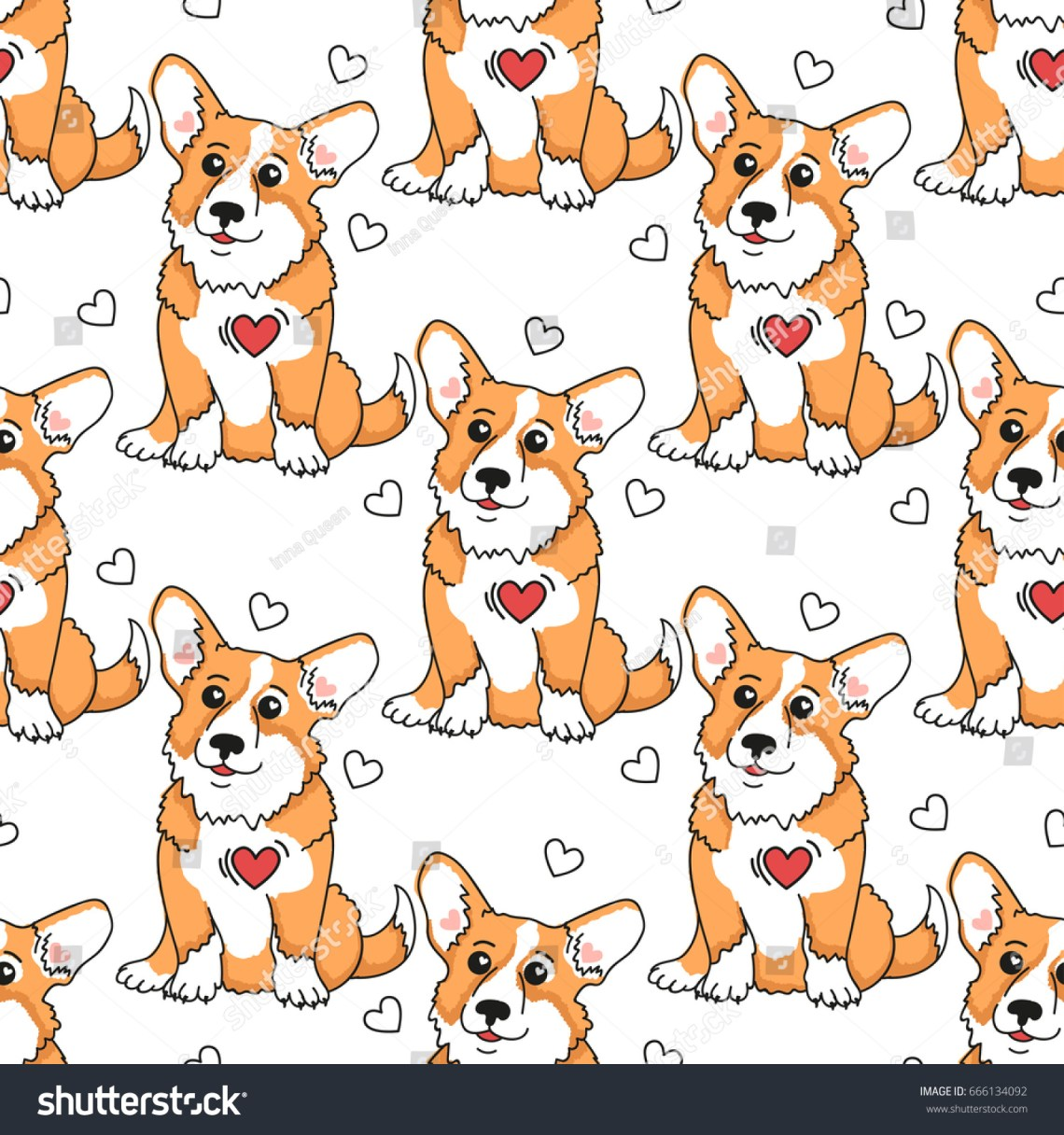 Download Lovely Seamless Pattern Puppy Welsh Corgi Stock Vector ...