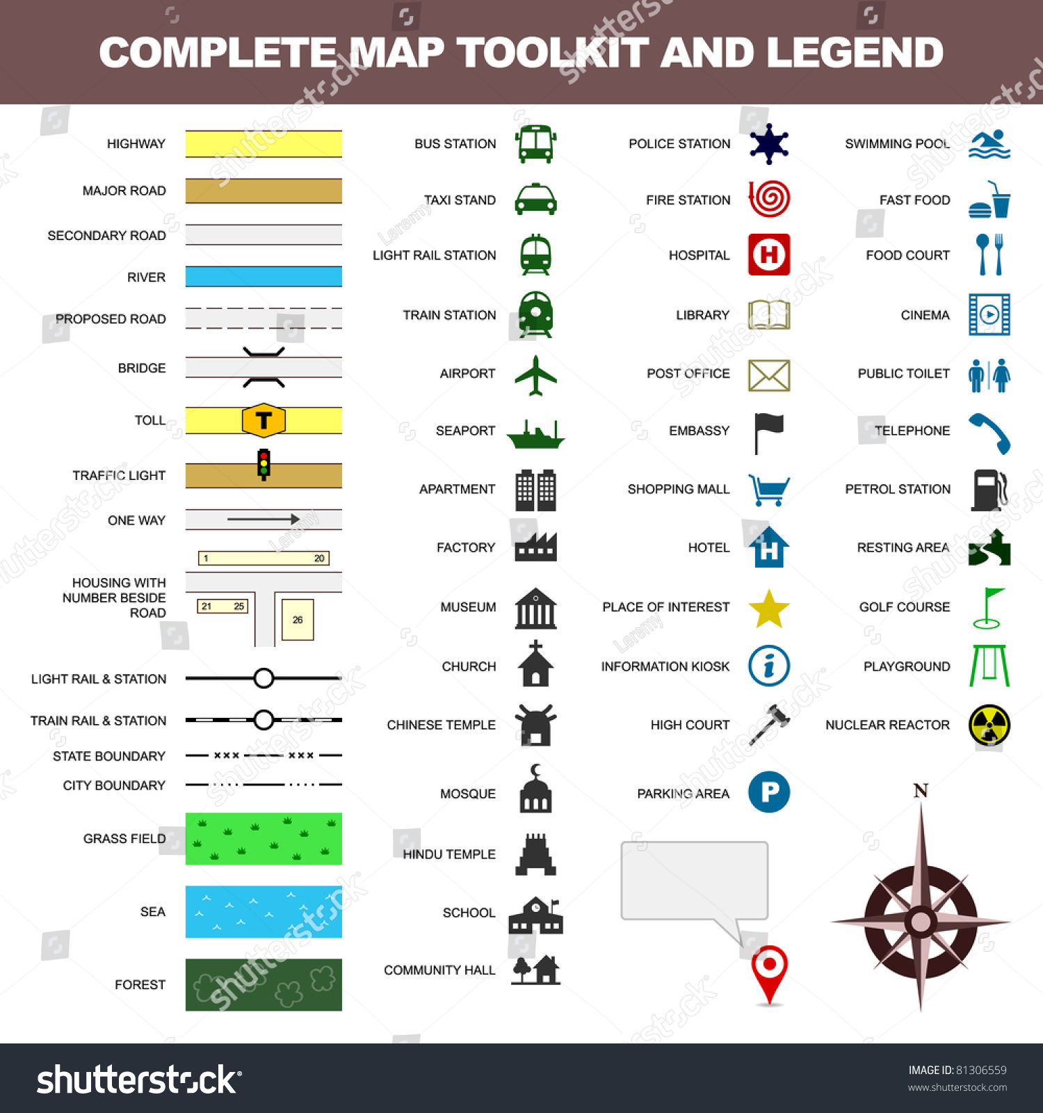 Map Icon Legend Symbol Sign Toolkit Stock Vector