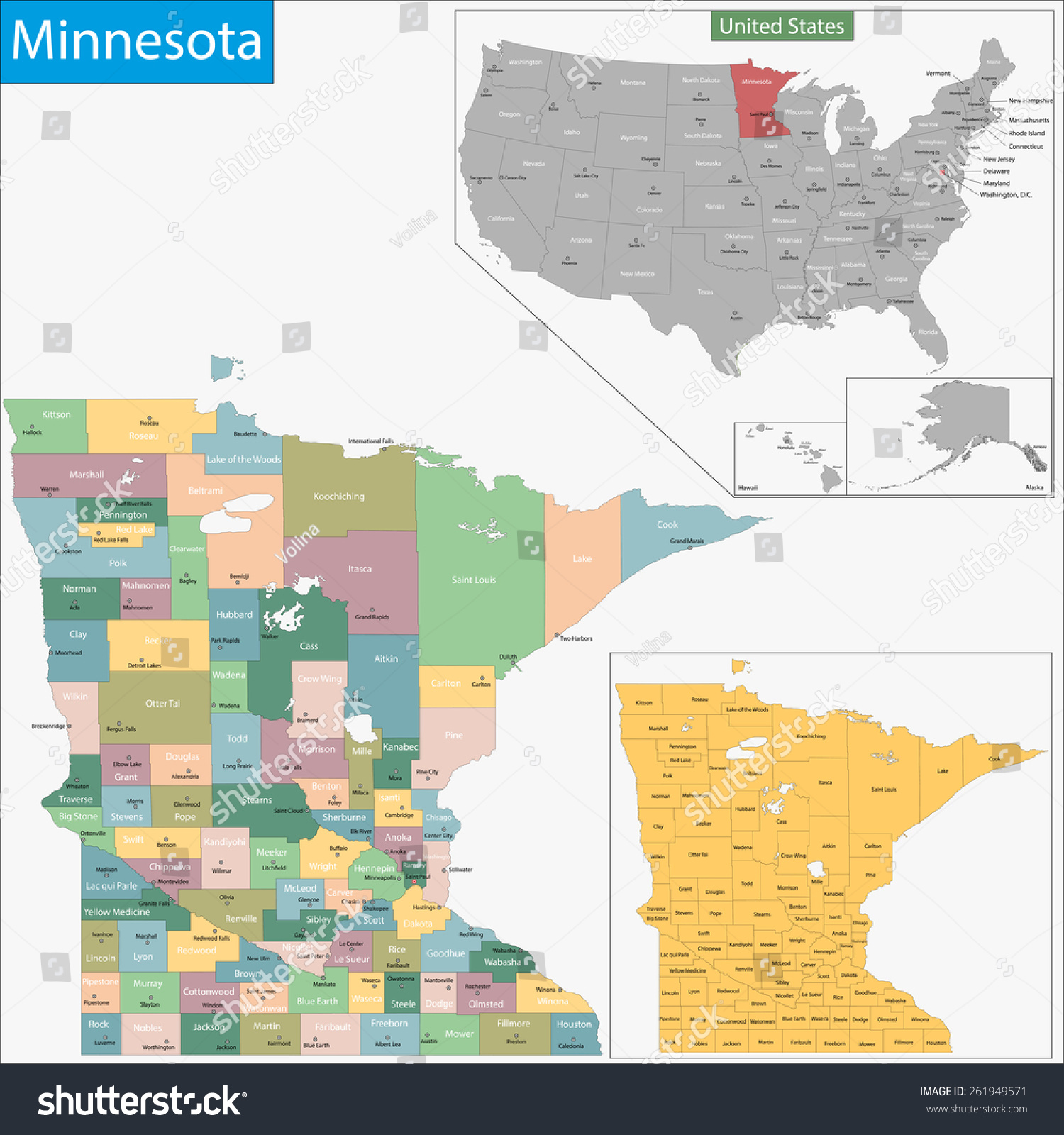 Map Minnesota State Designed Illustration Counties Stock