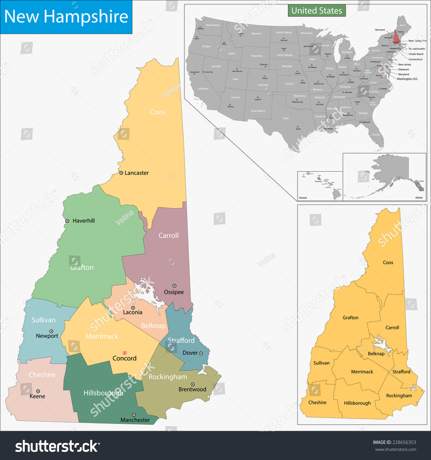 Map New Hampshire State Designed Illustration Stock Vector