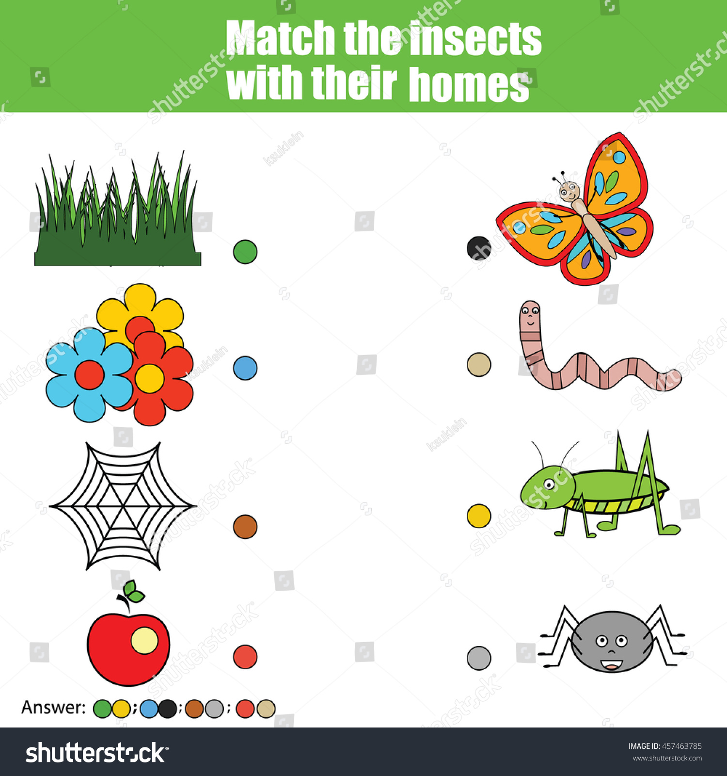 Match Insects Homes Children Education Game Stock Vector