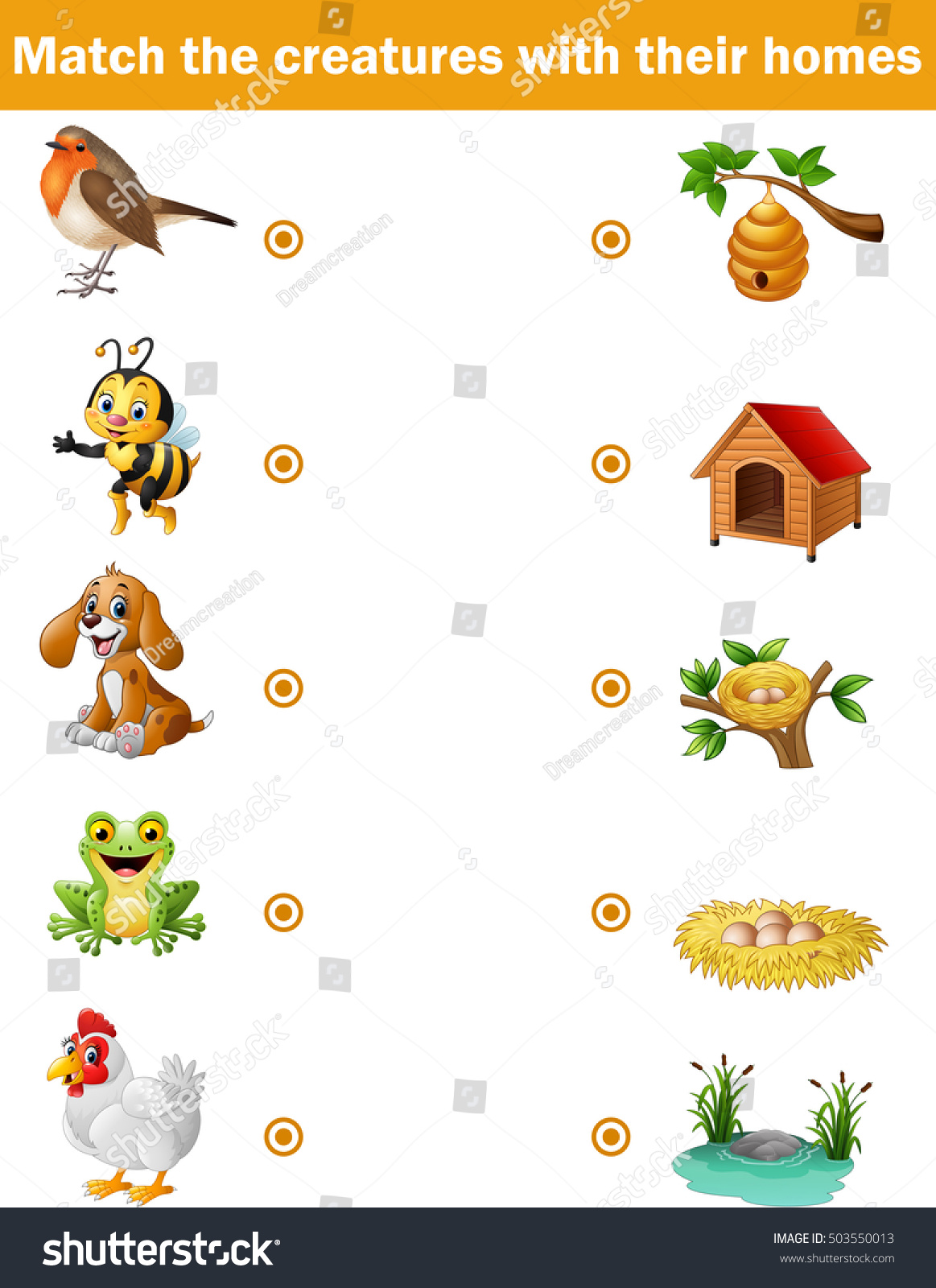 Matching Game Children Animals Their Homes Stock Vector